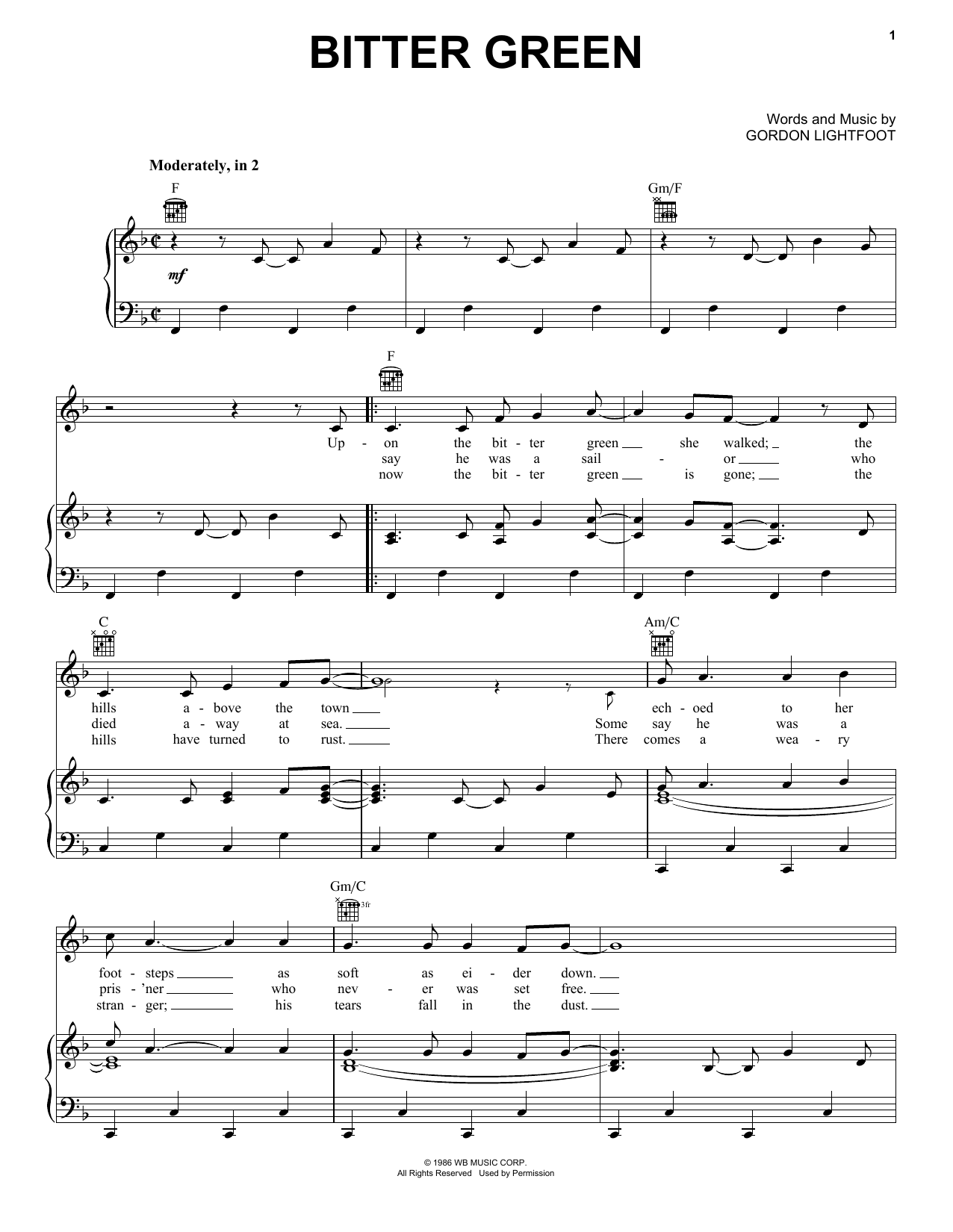 Bitter Green Sheet Music
