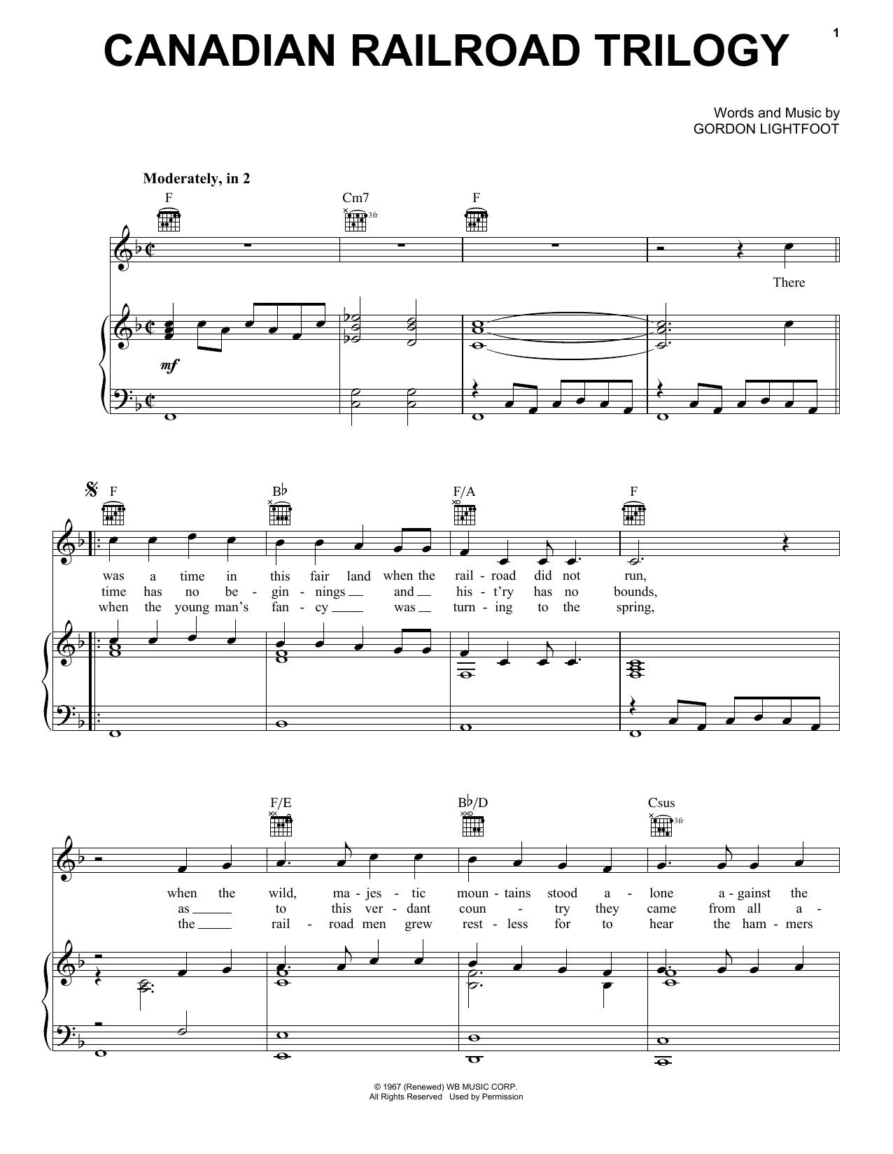 Canadian Railroad Trilogy Sheet Music