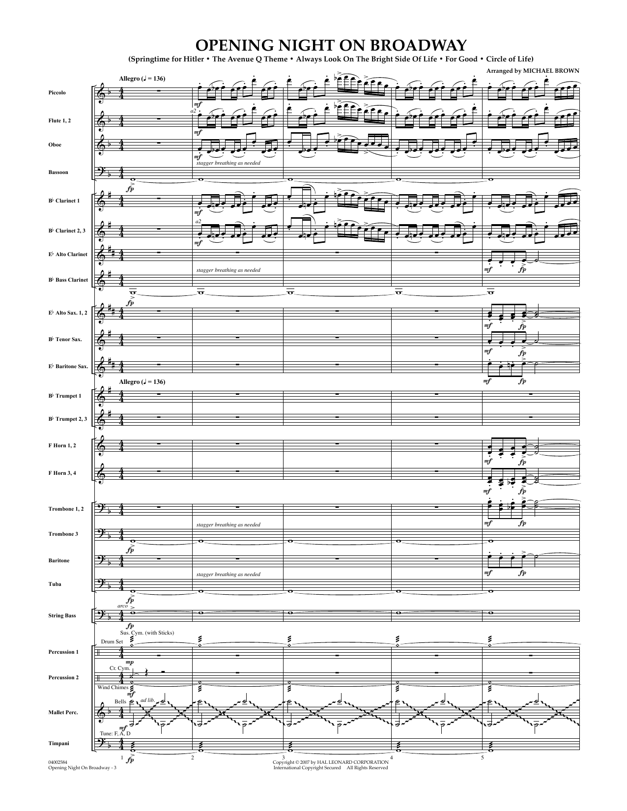 Opening Night on Broadway - Eb Alto Saxophone 2 by Michael Brown