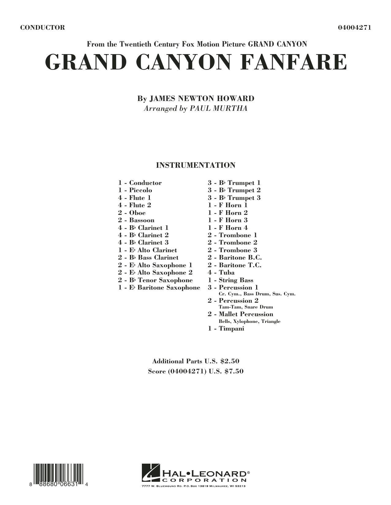 Grand Canyon Fanfare (COMPLETE) sheet music for concert band by James Newton Howard and Paul Murtha. Score Image Preview.