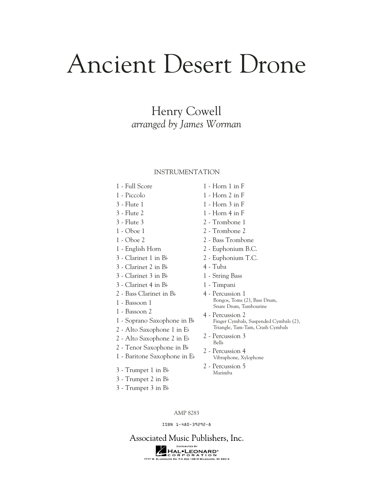 Ancient Desert Drone (COMPLETE) sheet music for concert band by James Worman. Score Image Preview.