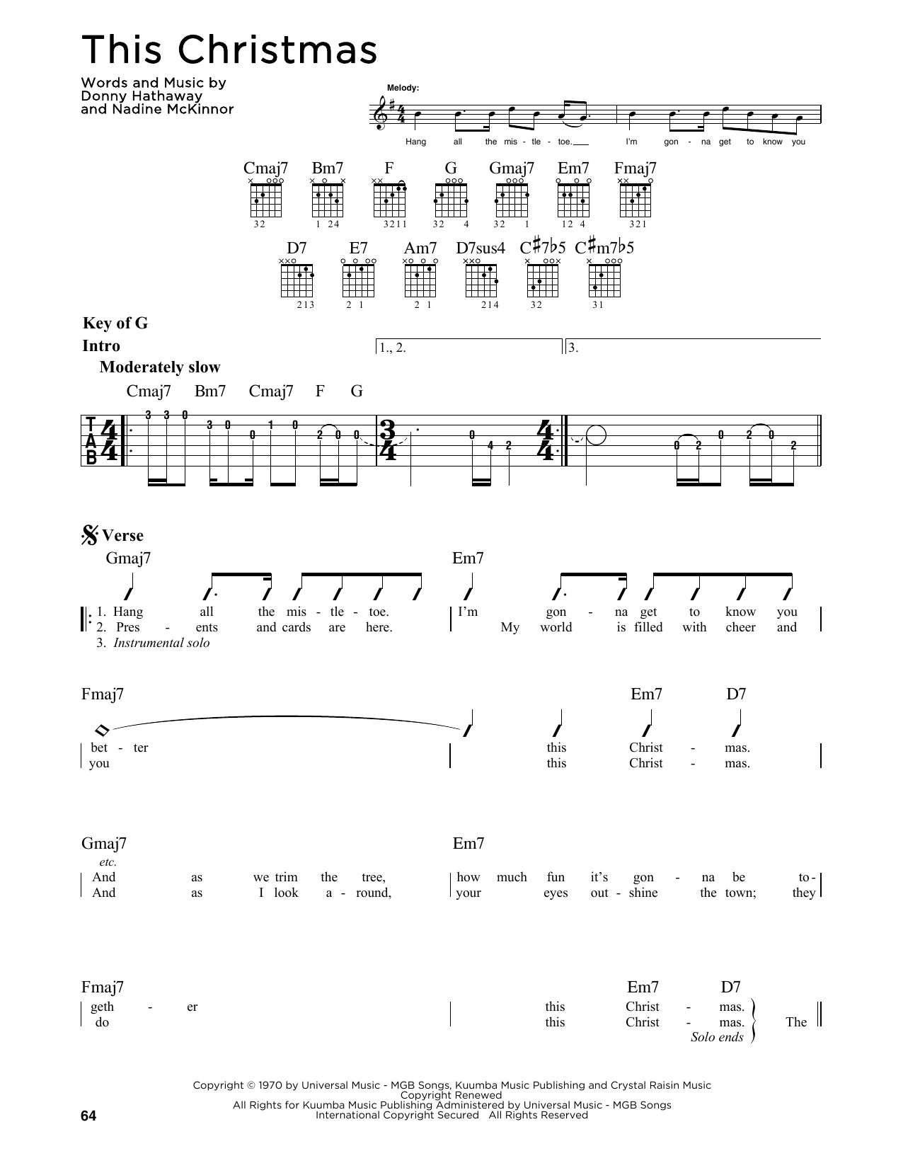 Partition autre This Christmas de Donny Hathaway - Tablature Guitare Lead