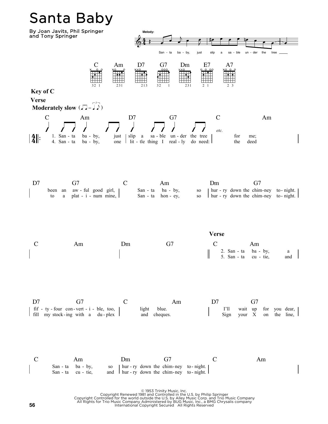 Partition autre Santa Baby de Joan Javits - Tablature Guitare Lead