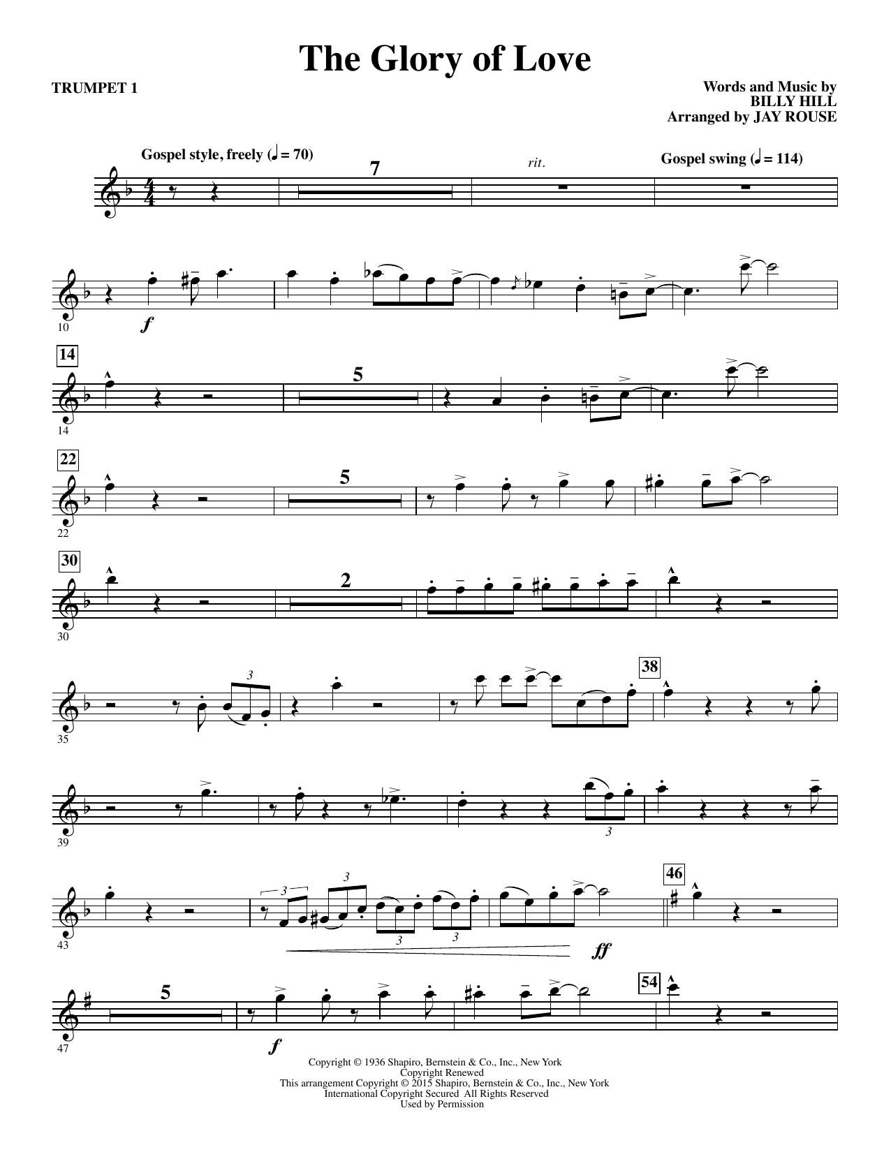 The Glory of Love (complete set of parts) sheet music for orchestra/band by Jay Rouse, Billy Hill, Count Basie, Peggy Lee and The Platters. Score Image Preview.