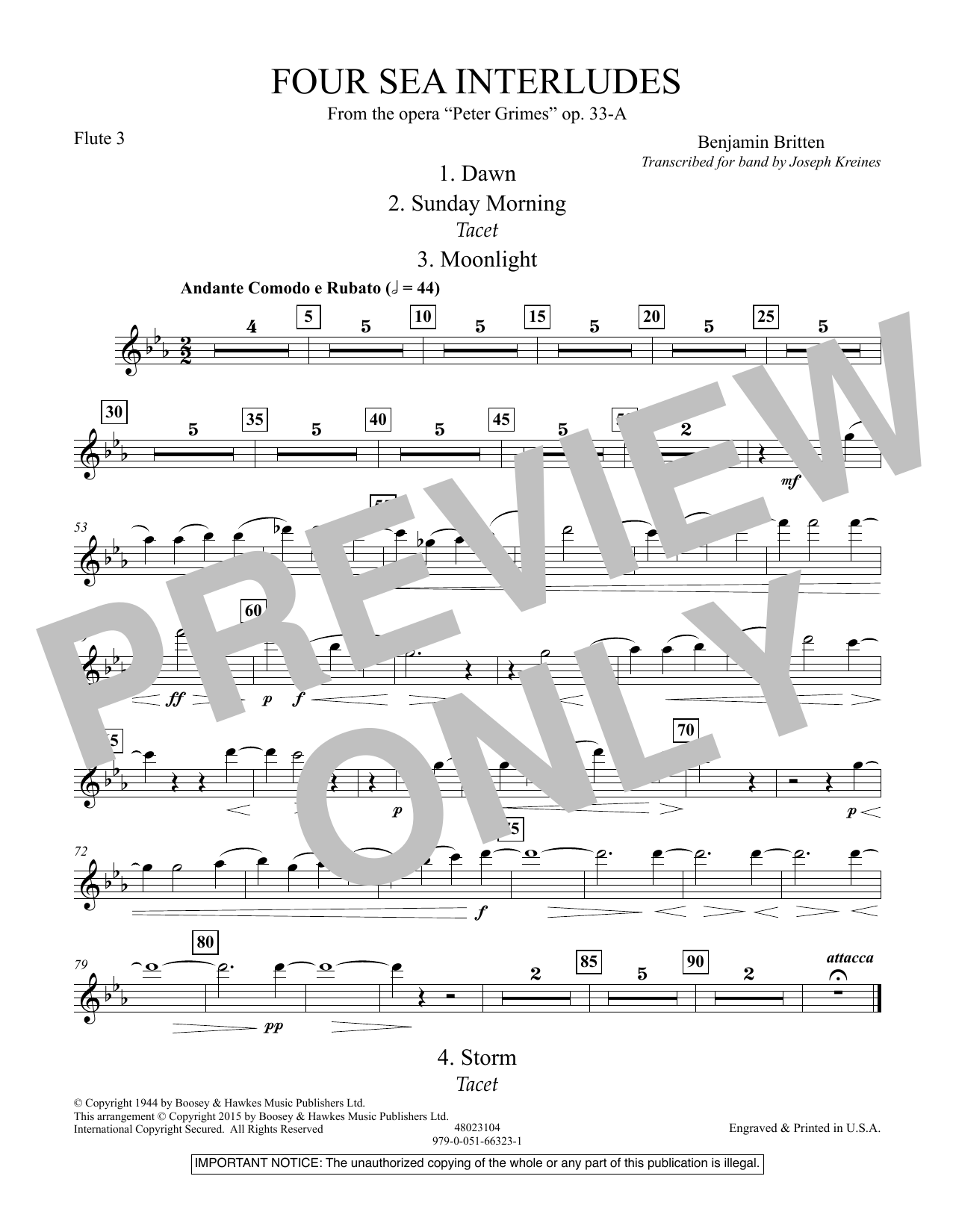 """Four Sea Interludes (from the opera """"Peter Grimes"""") - Flute 3 (Concert Band)"""