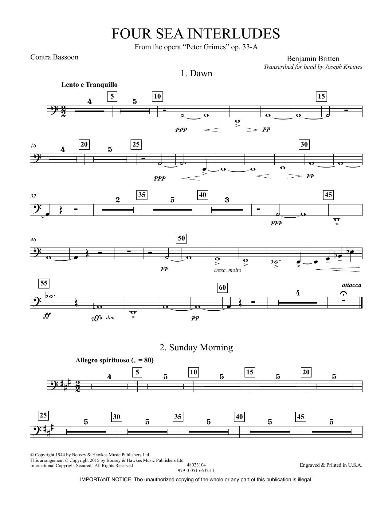 """Four Sea Interludes (from the opera """"Peter Grimes"""") - Contra Bassoon (Concert Band)"""