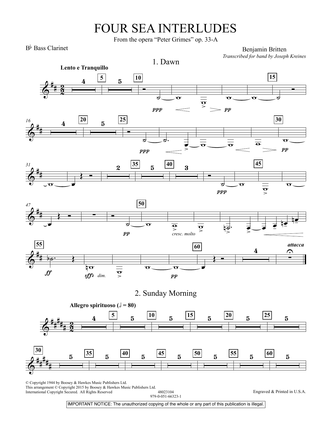 """Four Sea Interludes (from the opera """"Peter Grimes"""") - Bb Bass Clarinet (Concert Band)"""