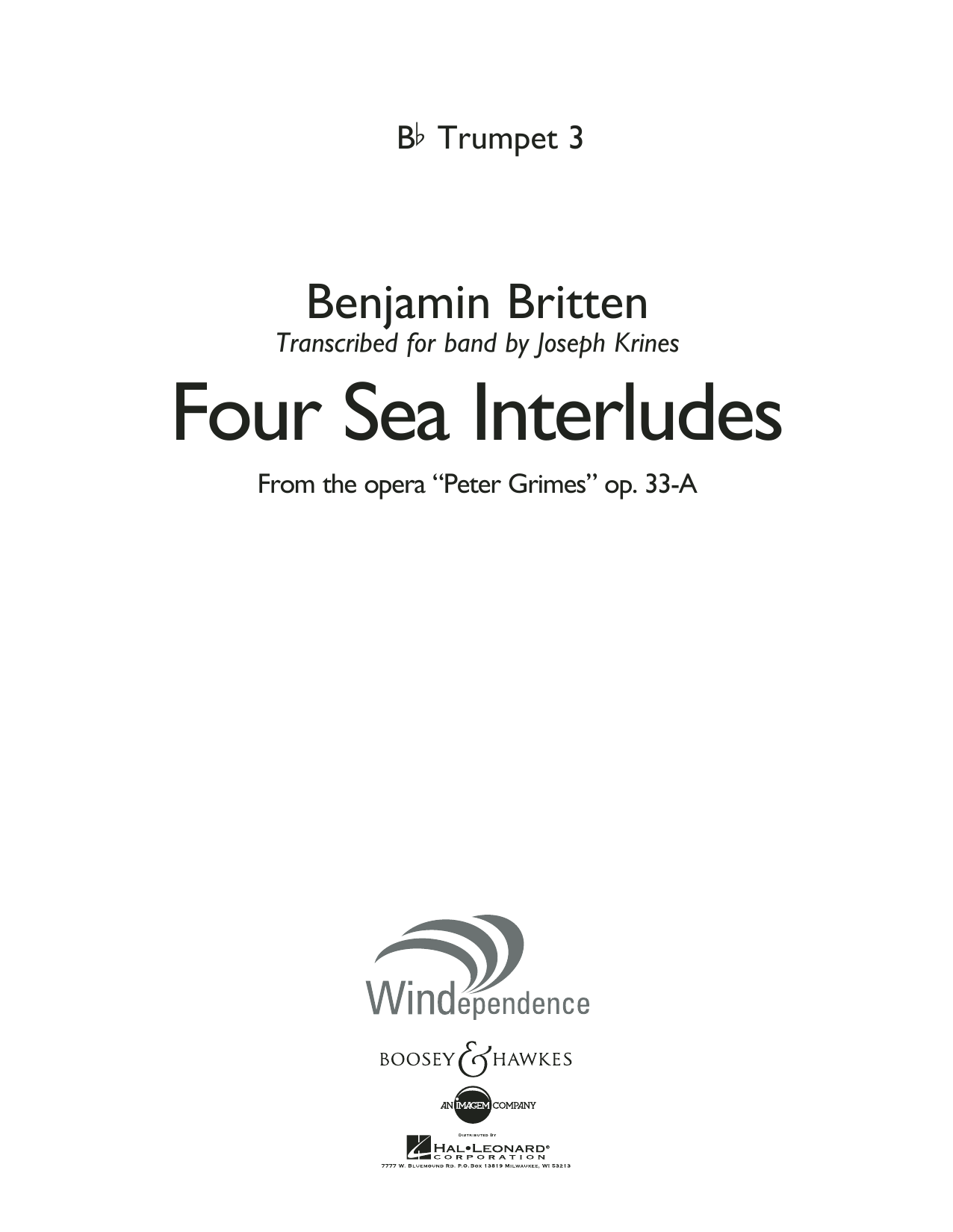 """Four Sea Interludes (from the opera """"Peter Grimes"""") - Bb Trumpet 3 (Concert Band)"""