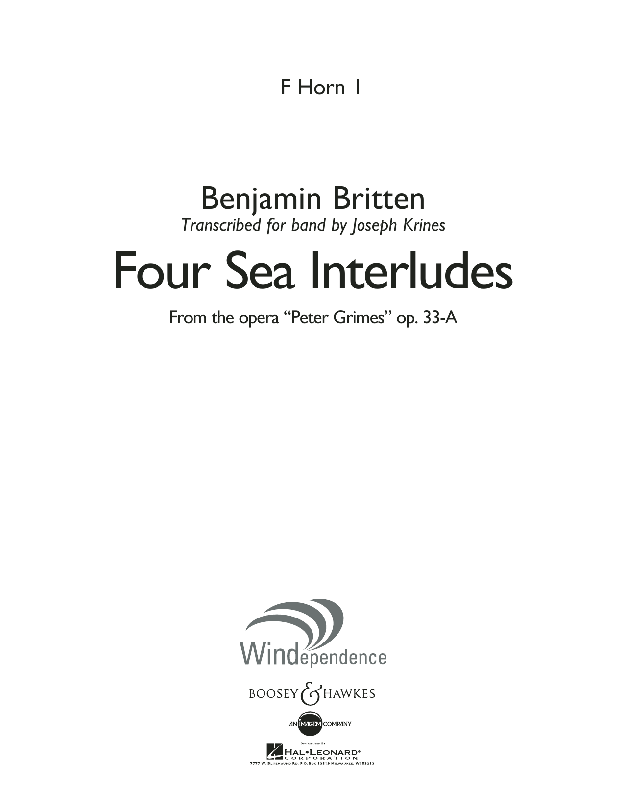 """Four Sea Interludes (from the opera """"Peter Grimes"""") - F Horn 1 (Concert Band)"""