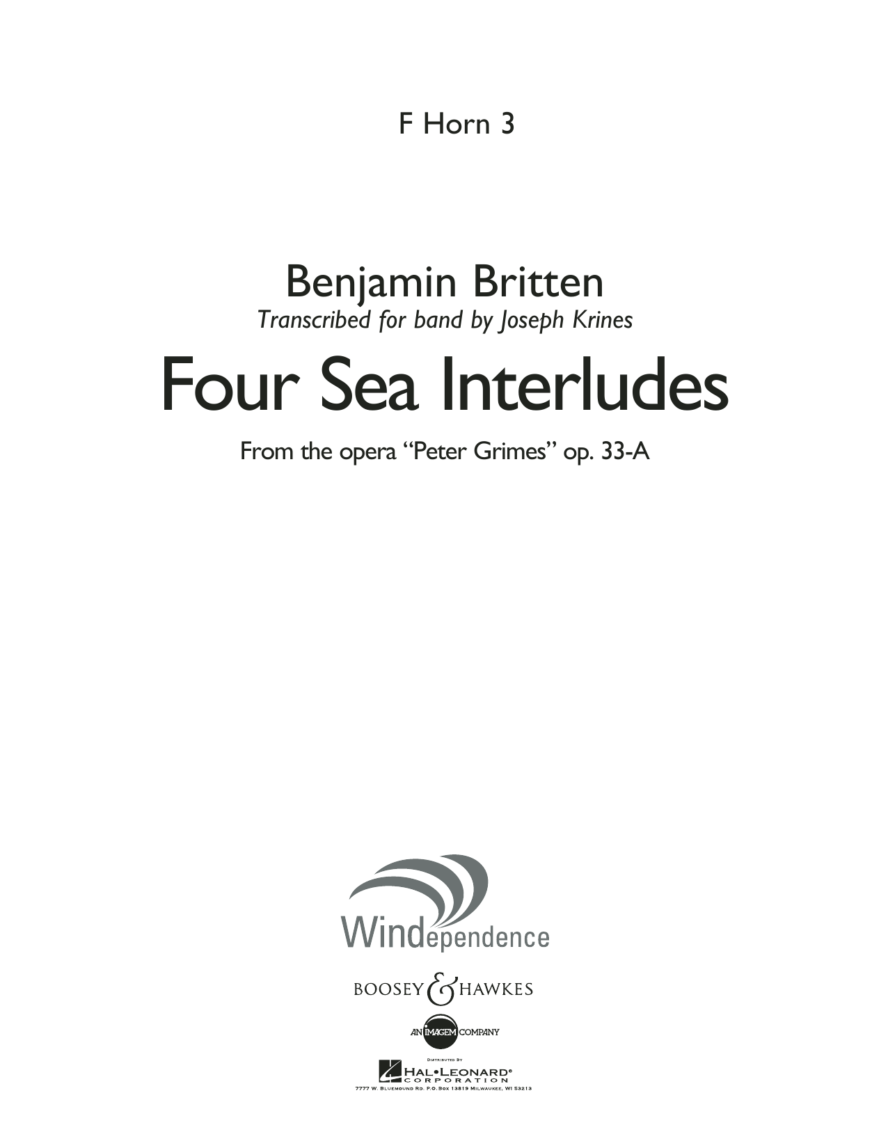 """Four Sea Interludes (from the opera """"Peter Grimes"""") - F Horn 3 (Concert Band)"""