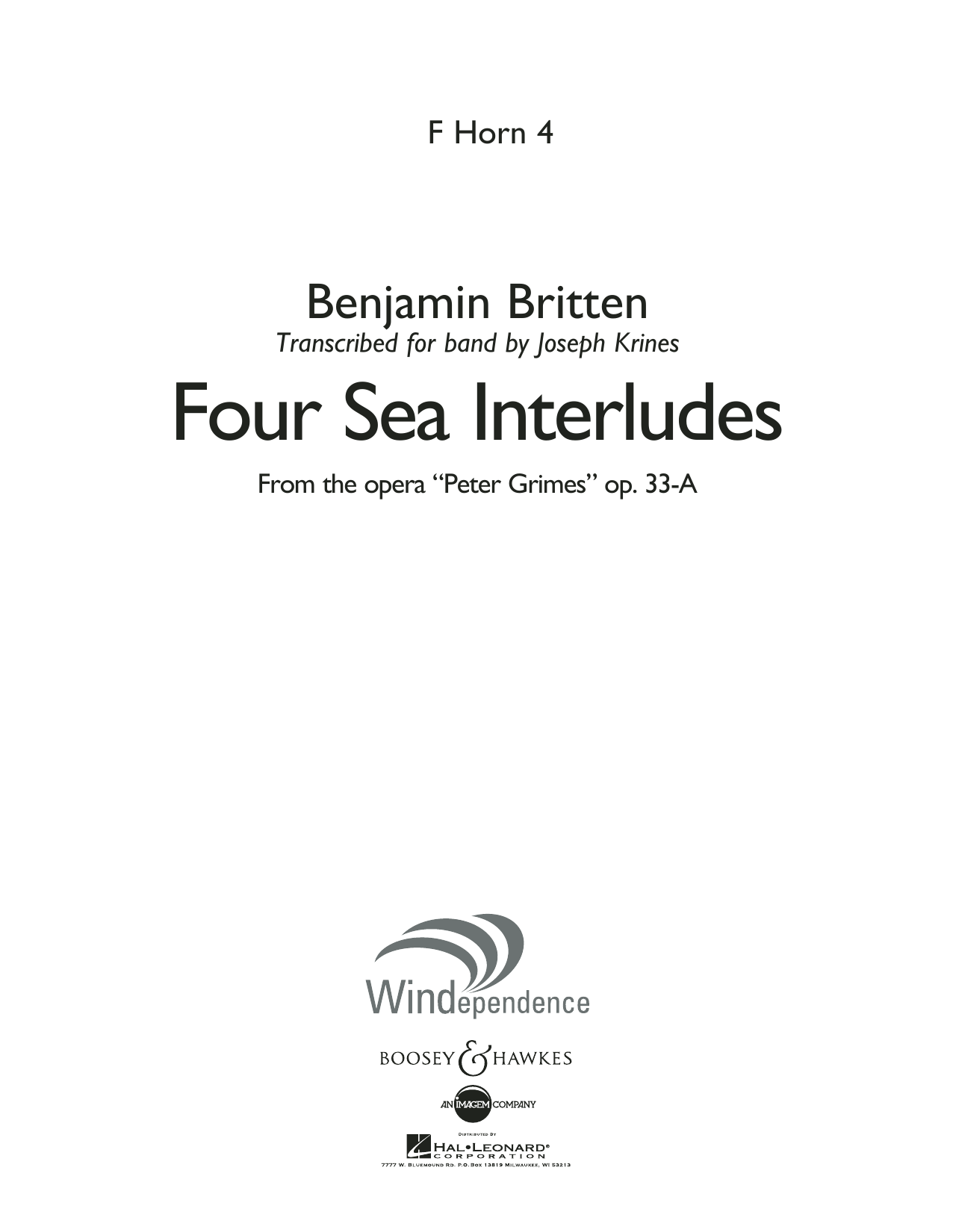 """Four Sea Interludes (from the opera """"Peter Grimes"""") - F Horn 4 (Concert Band)"""