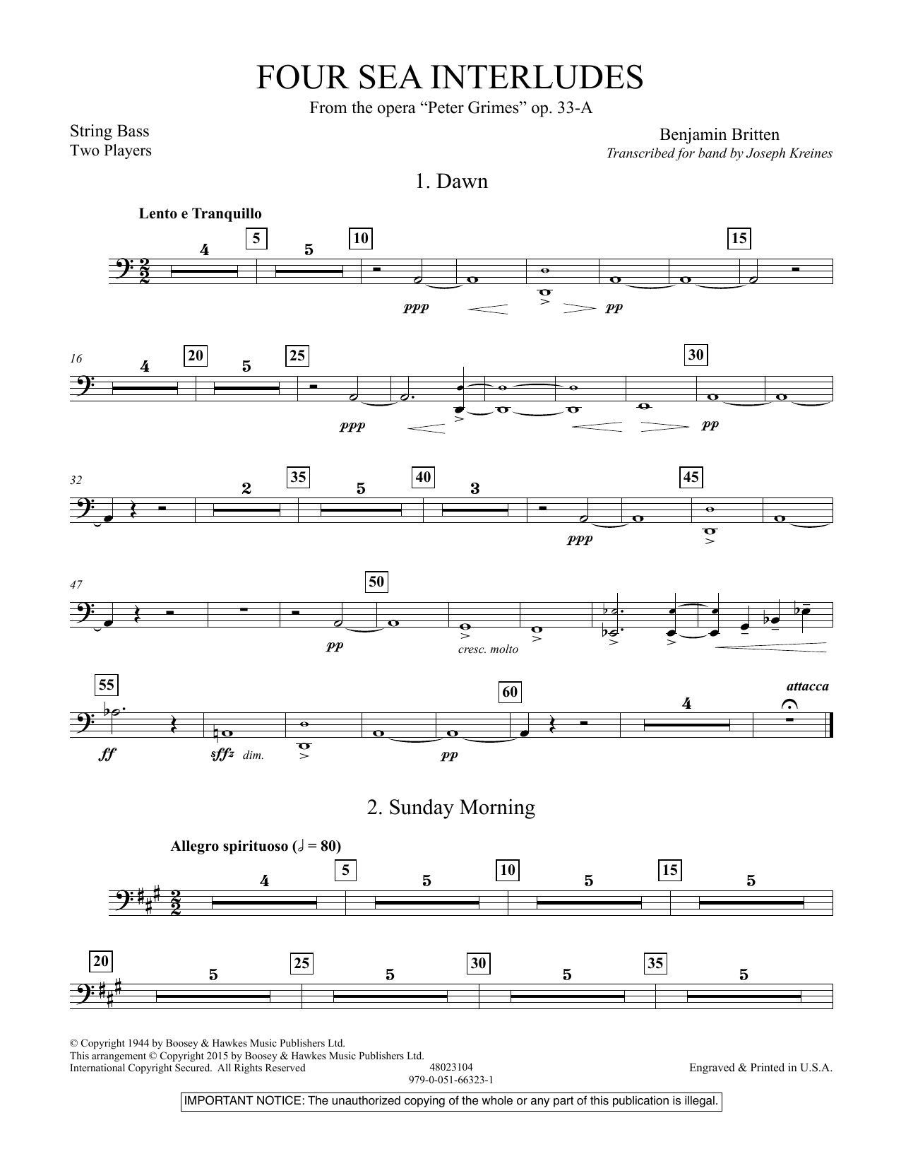 """Four Sea Interludes (from the opera """"Peter Grimes"""") - String Bass (Concert Band)"""