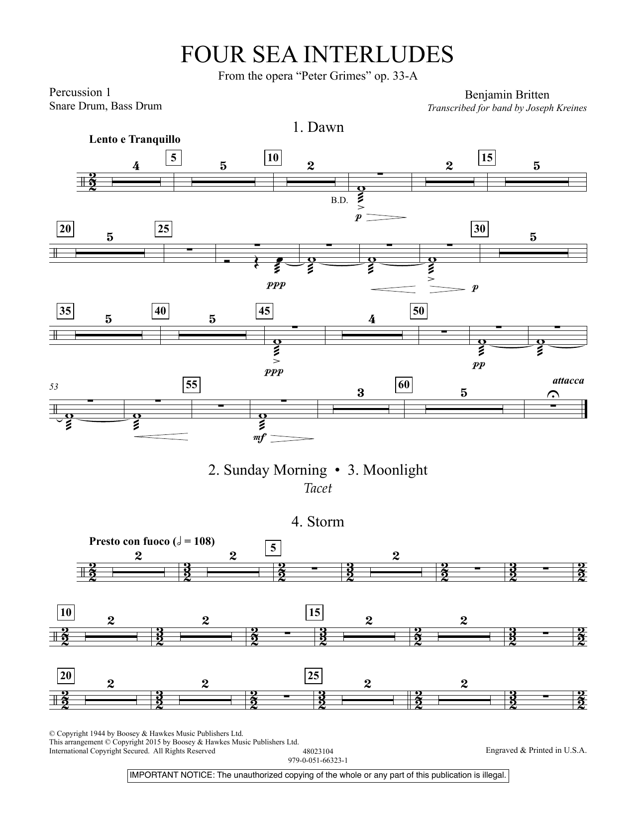"""Four Sea Interludes (from the opera """"Peter Grimes"""") - Percussion 1 (Concert Band)"""
