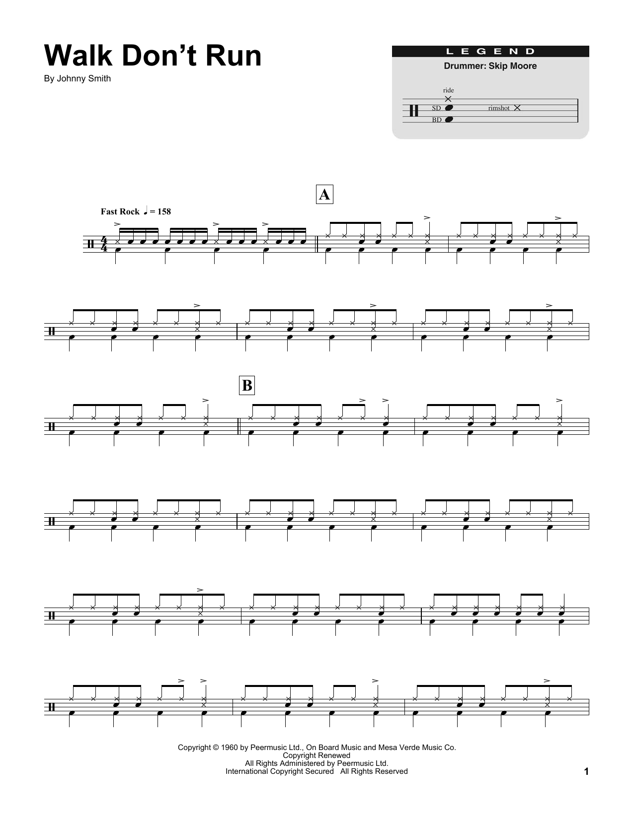 Walk Dont Run Sheet Music By The Ventures Drums Transcription