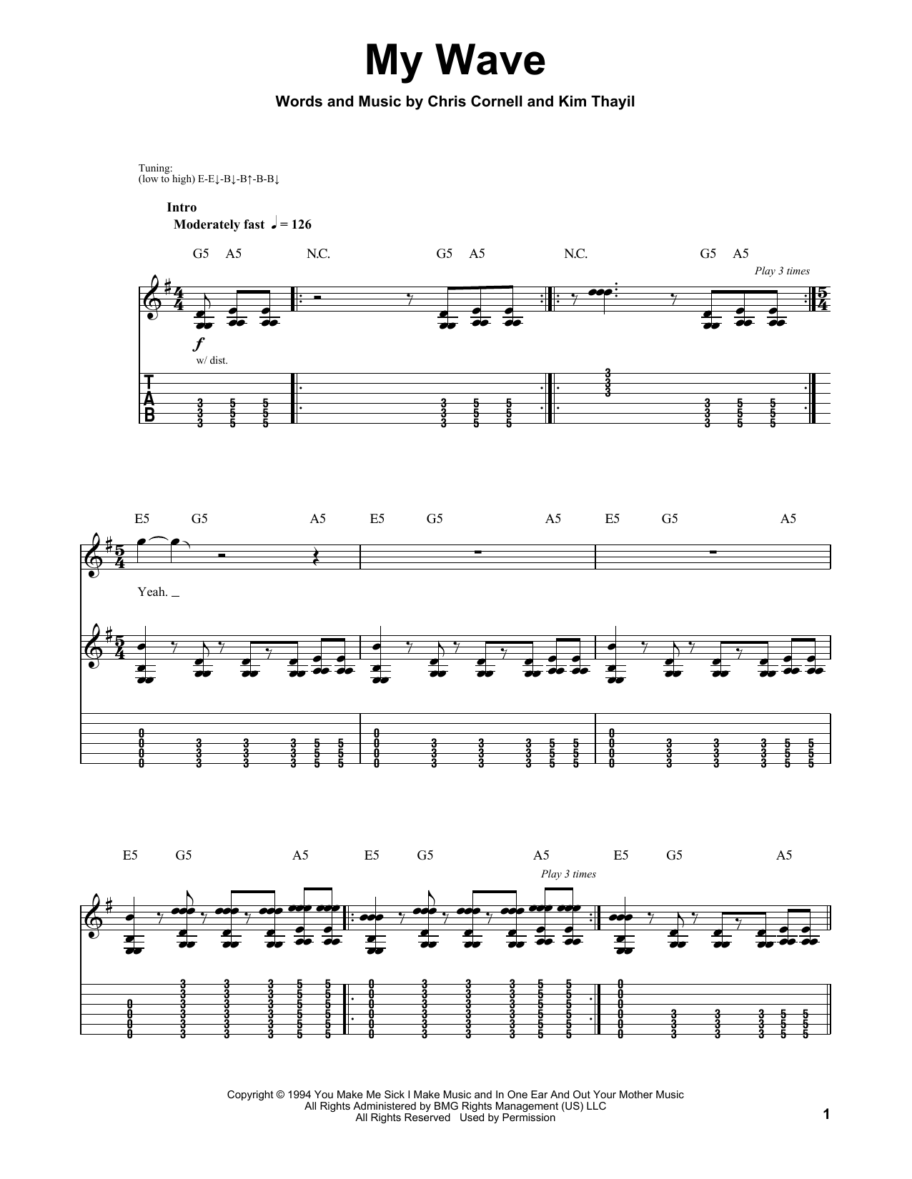 Tablature guitare My Wave de Soundgarden - Playback Guitare