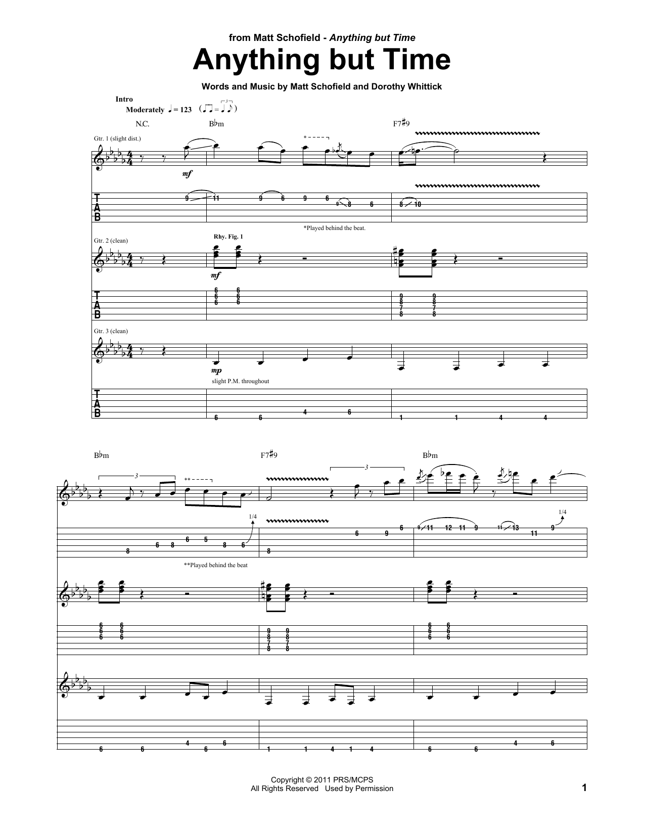 Anything But Time (Guitar Tab)