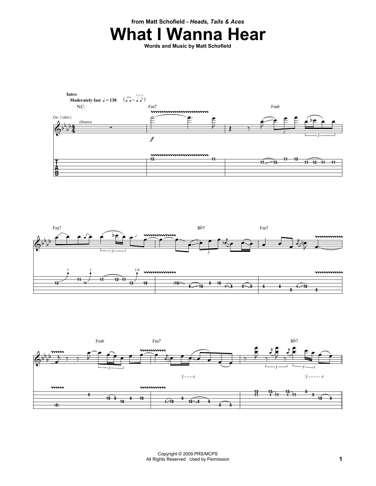 What I Wanna Hear (Guitar Tab)