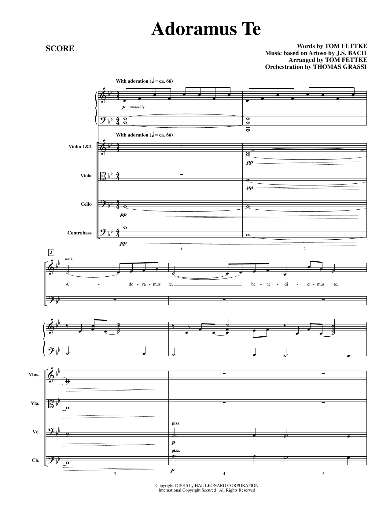 Adoramus Te (COMPLETE) sheet music for orchestra/band by Tom Fettke and Johann Sebastian Bach. Score Image Preview.