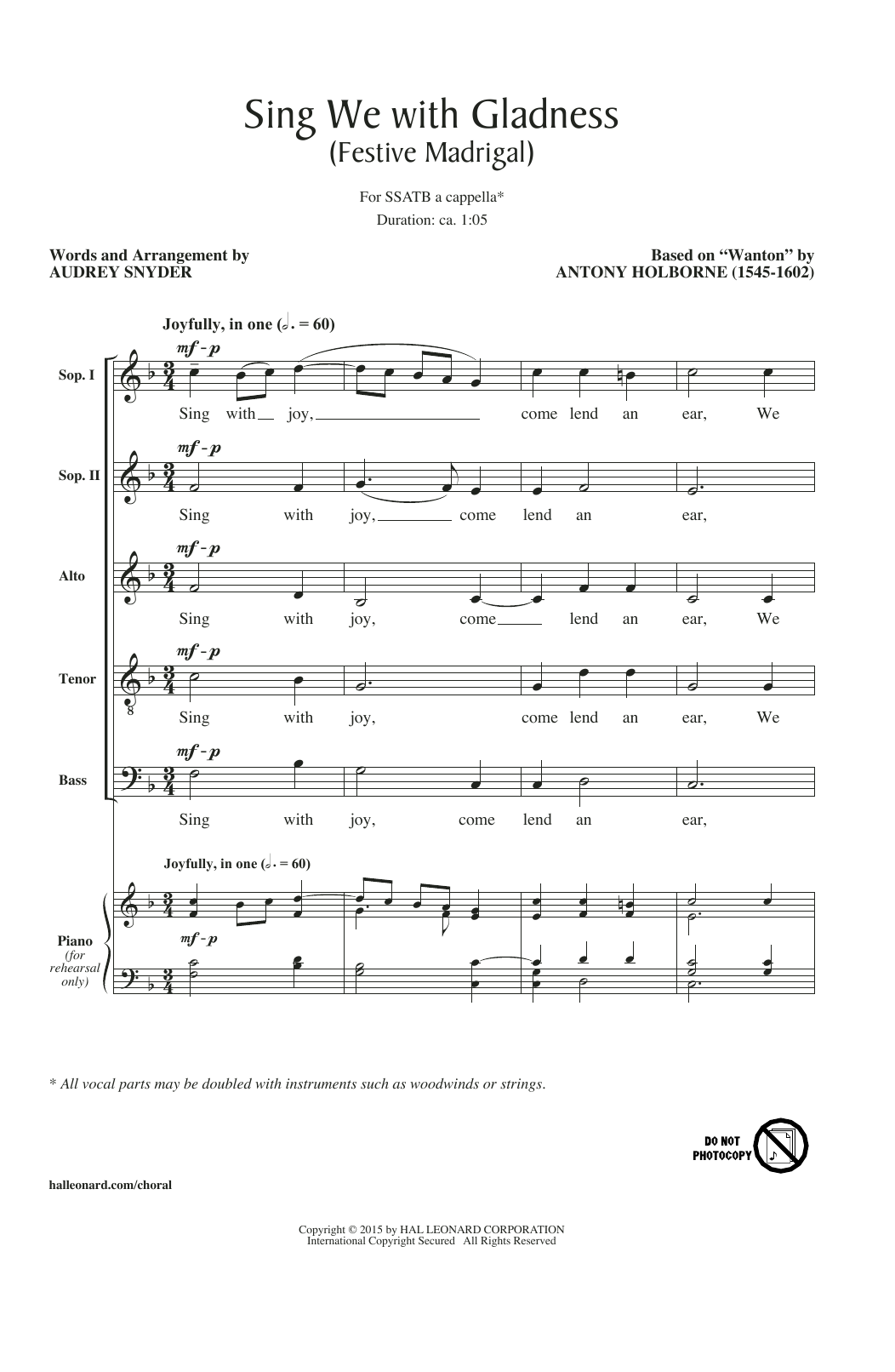 Sing We With Gladness (Festive Madrigal) (arr. Audrey Snyder) Sheet Music