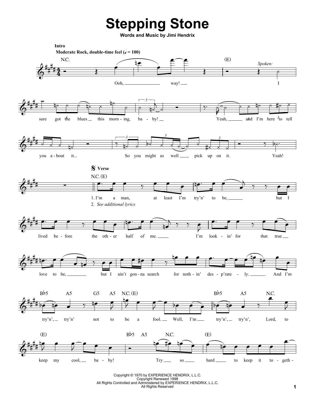 Tablature guitare Stepping Stone de Jimi Hendrix - Tablature Guitare