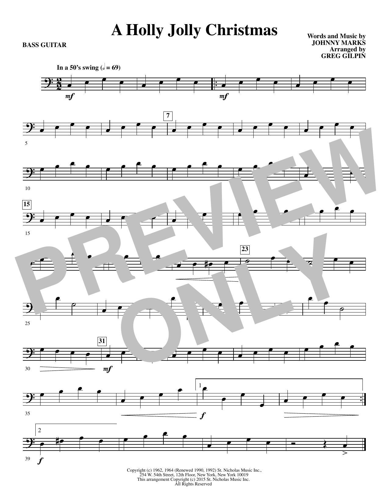 A Holly, Jolly Christmas (arr. Greg Gilpin) - Bass (Choir Instrumental Pak)