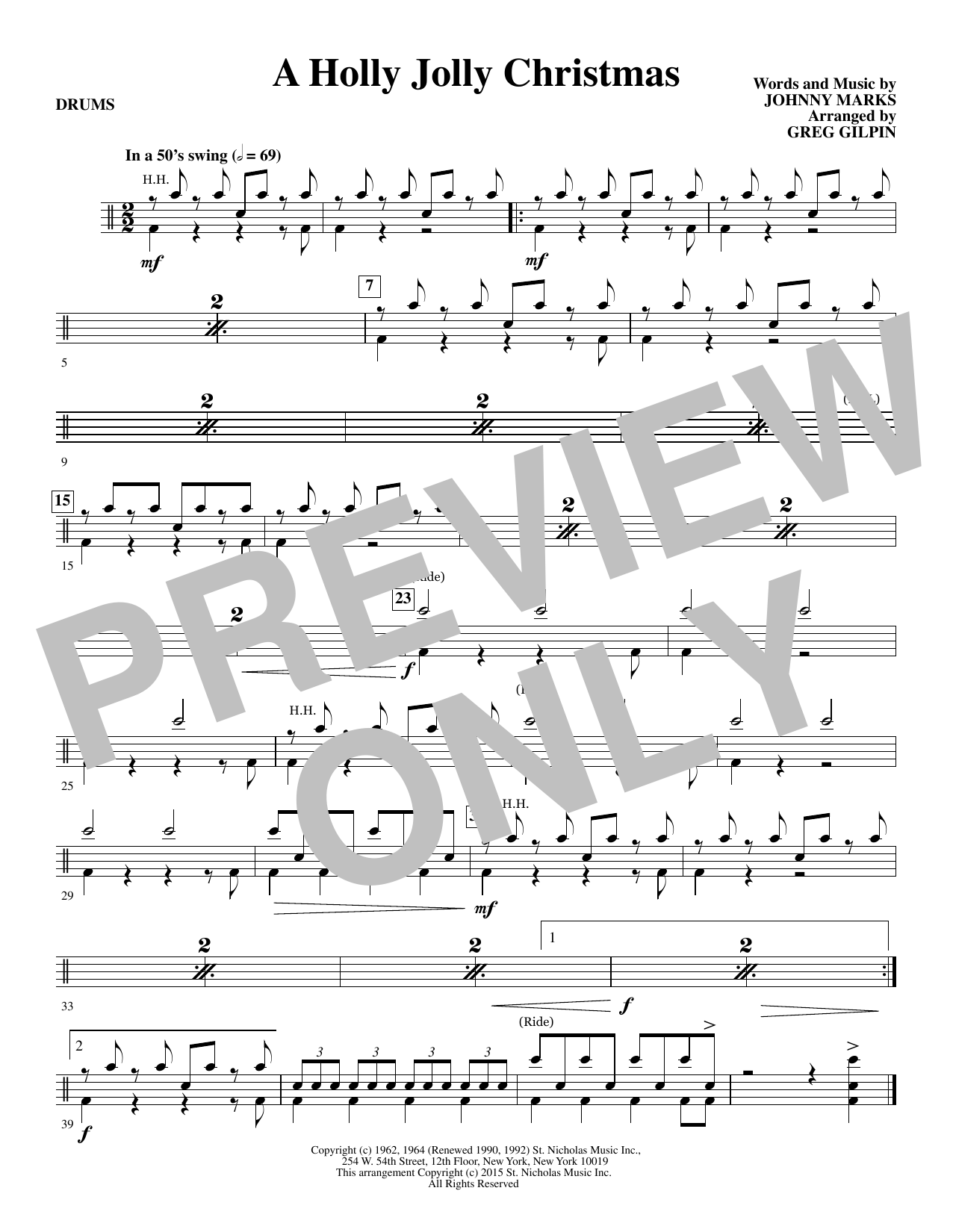 A Holly, Jolly Christmas - Drum Set | Greg Gilpin | Choral ...