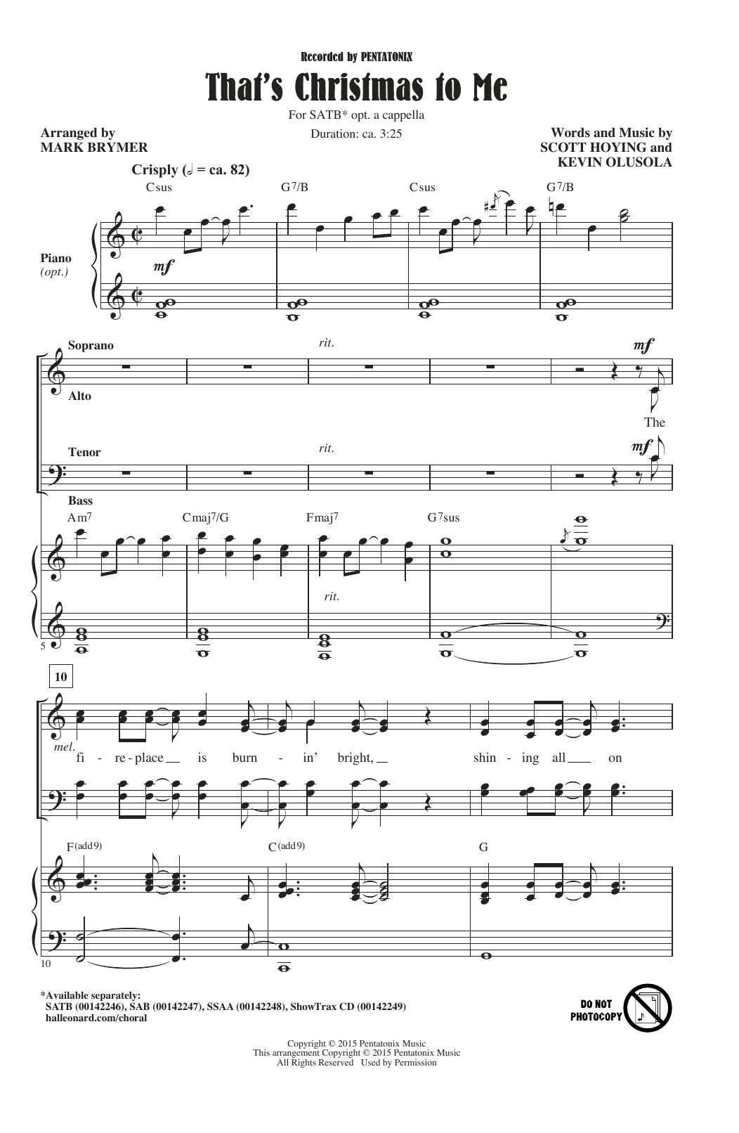 That's Christmas To Me (arr. Mark Brymer) Choral SATB sheet music ...