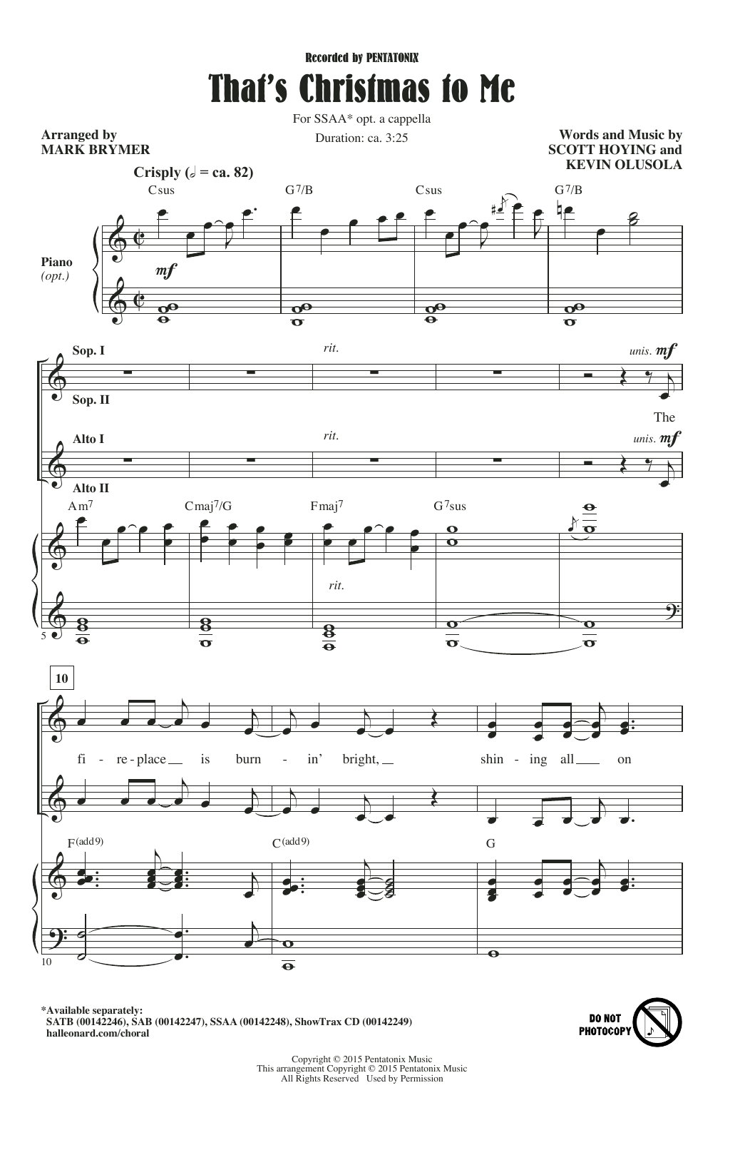 That's Christmas To Me (arr. Mark Brymer) Sheet Music