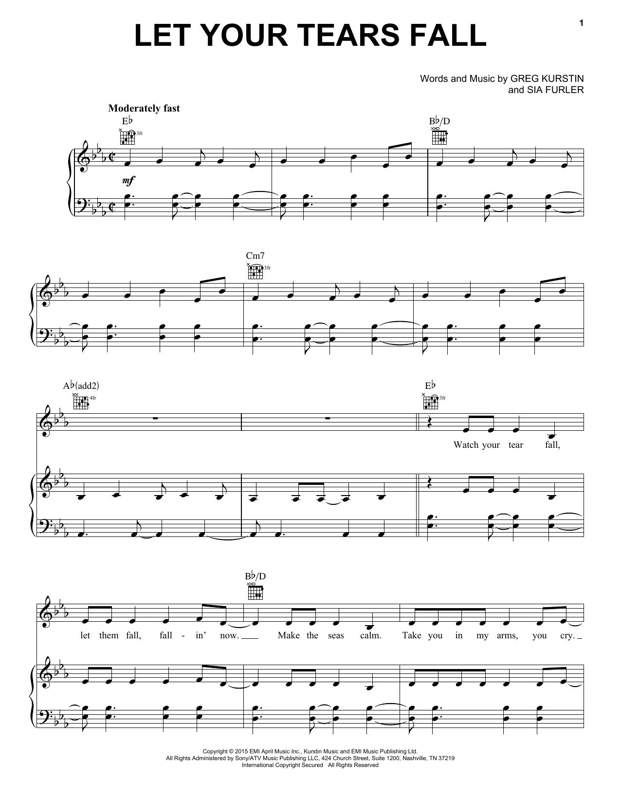 Partition piano Let Your Tears Fall de Kelly Clarkson - Piano Voix Guitare (Mélodie Main Droite)