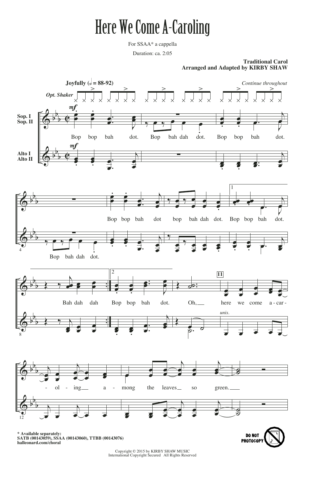 Partition chorale Here We Come A-Caroling (arr. Kirby Shaw) de Traditional - SSA