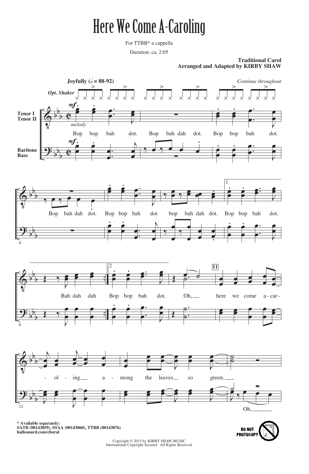Partition chorale Here We Come A-Caroling (arr. Kirby Shaw) de Traditional - TTBB