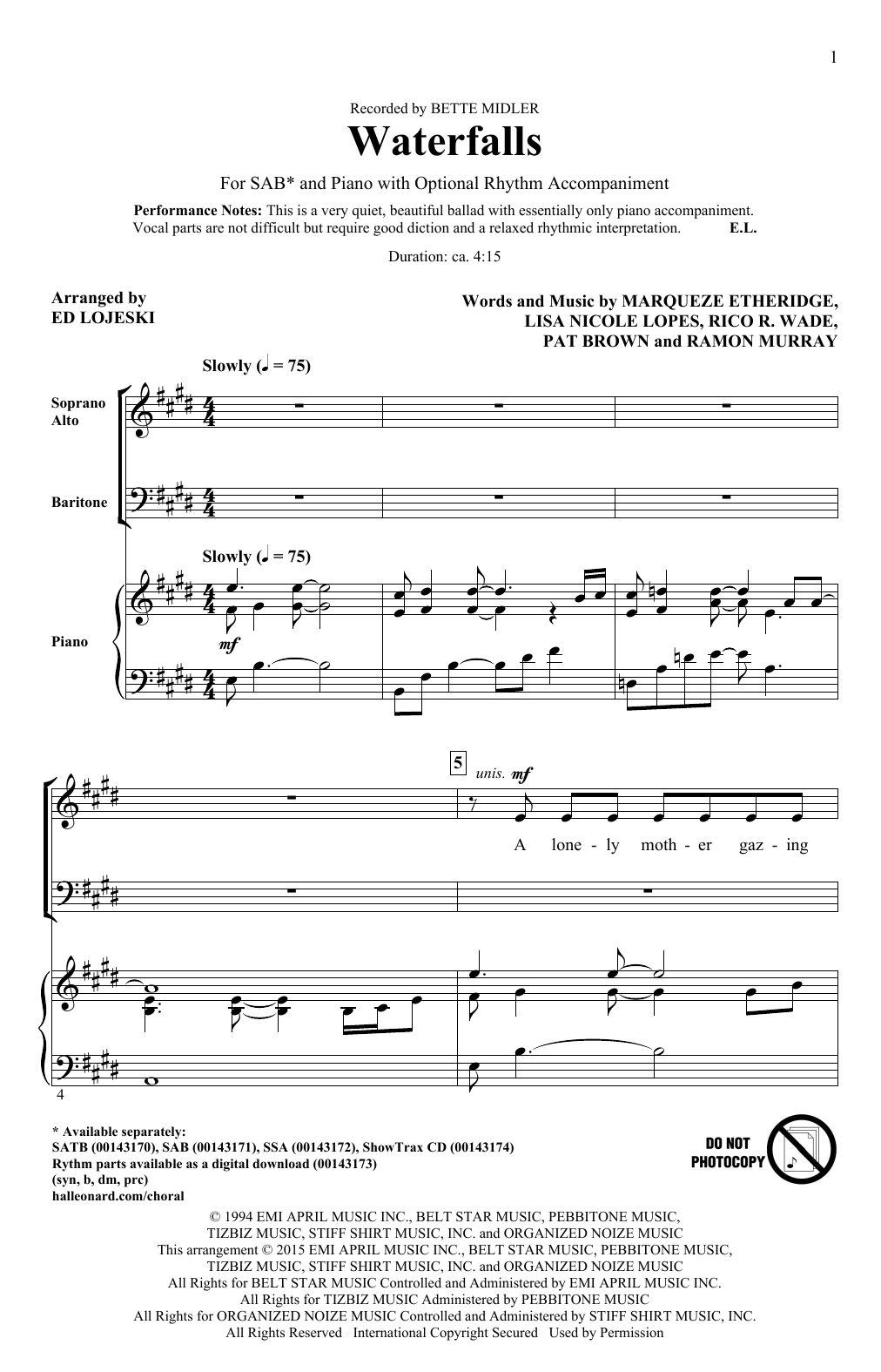 Partition chorale Waterfalls (arr. Ed Lojeski) de Bette Midler - SAB