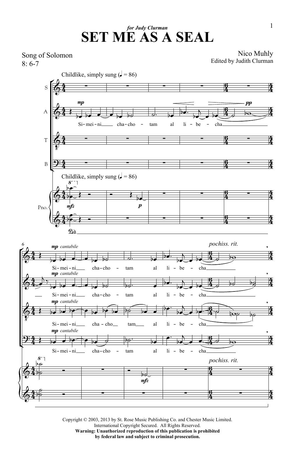 Set Me As A Seal (SATB Choir)