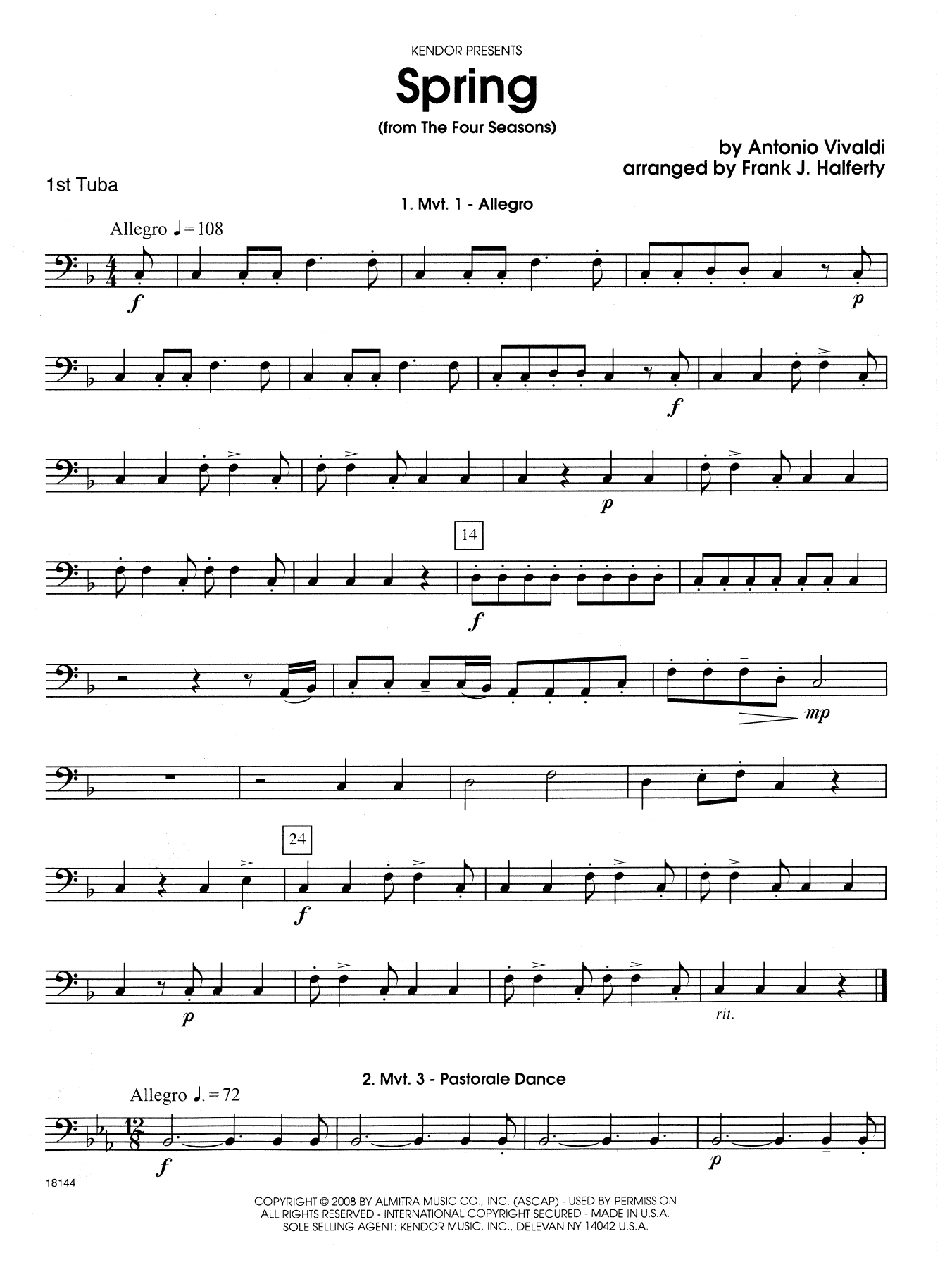 Spring (from The Four Seasons) - Tuba 1 Sheet Music