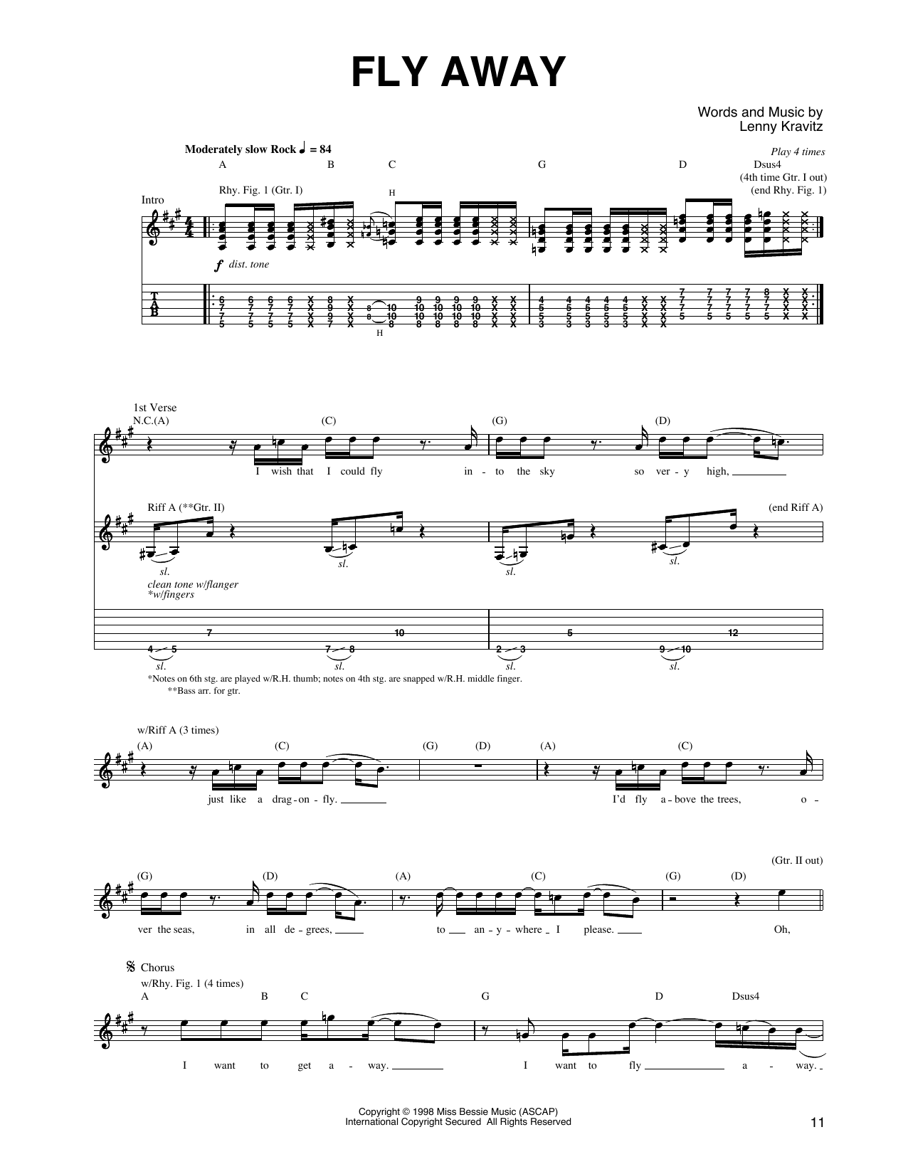 Fly away guitar tab by lenny kravitz guitar tab 160187 fly away sheet music hexwebz Image collections