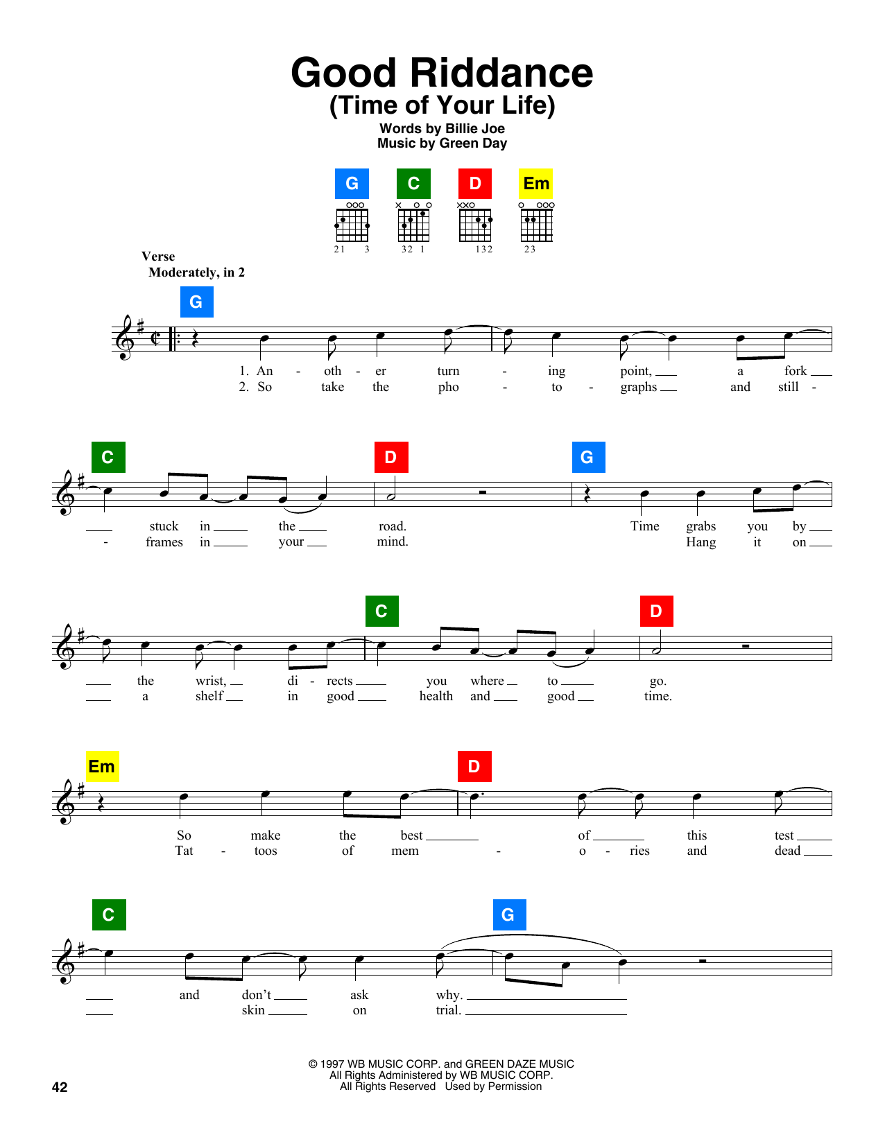 Good Riddance Time Of Your Life Sheet Music By Green Day