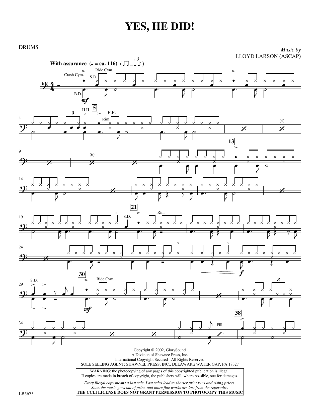 Yes, He Did! - Drums Sheet Music