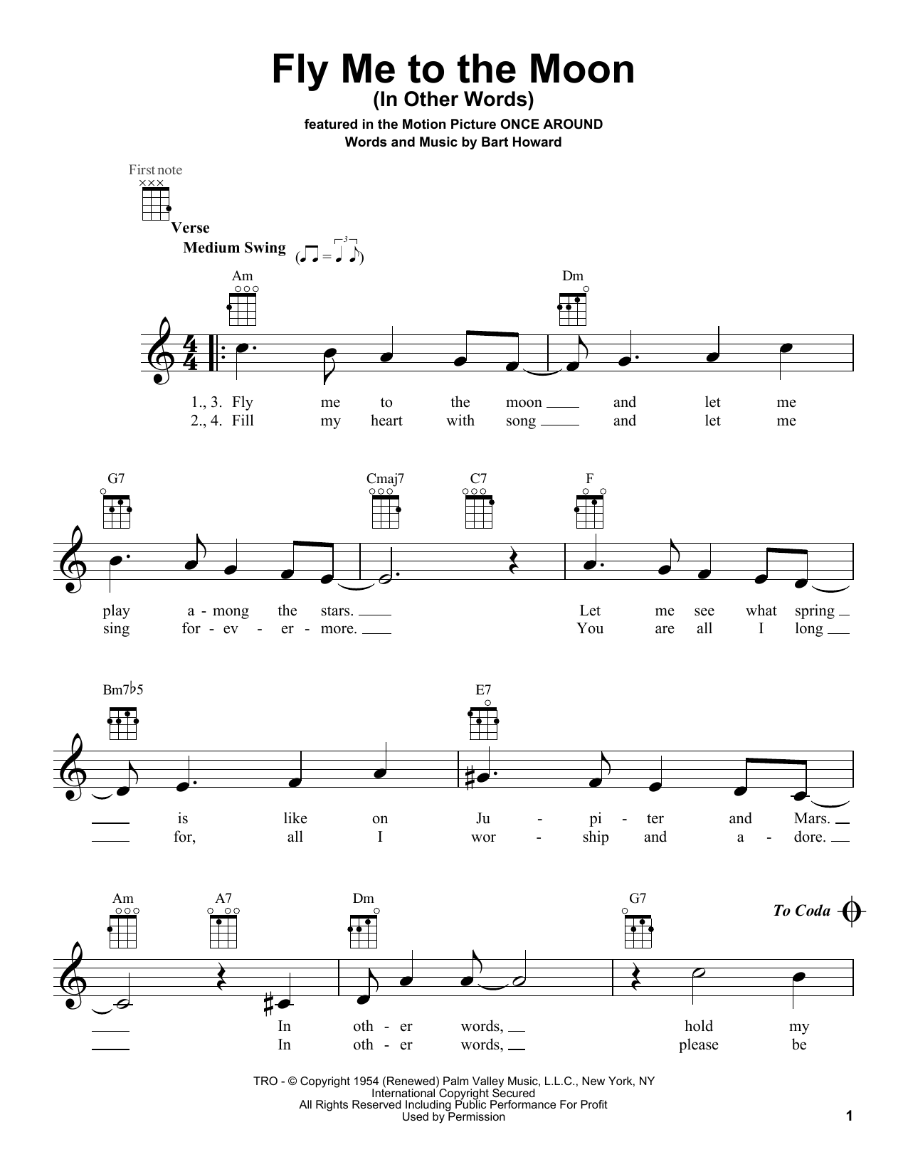 Tablature guitare Fly Me To The Moon (In Other Words) de Bobby Darin - Ukulele