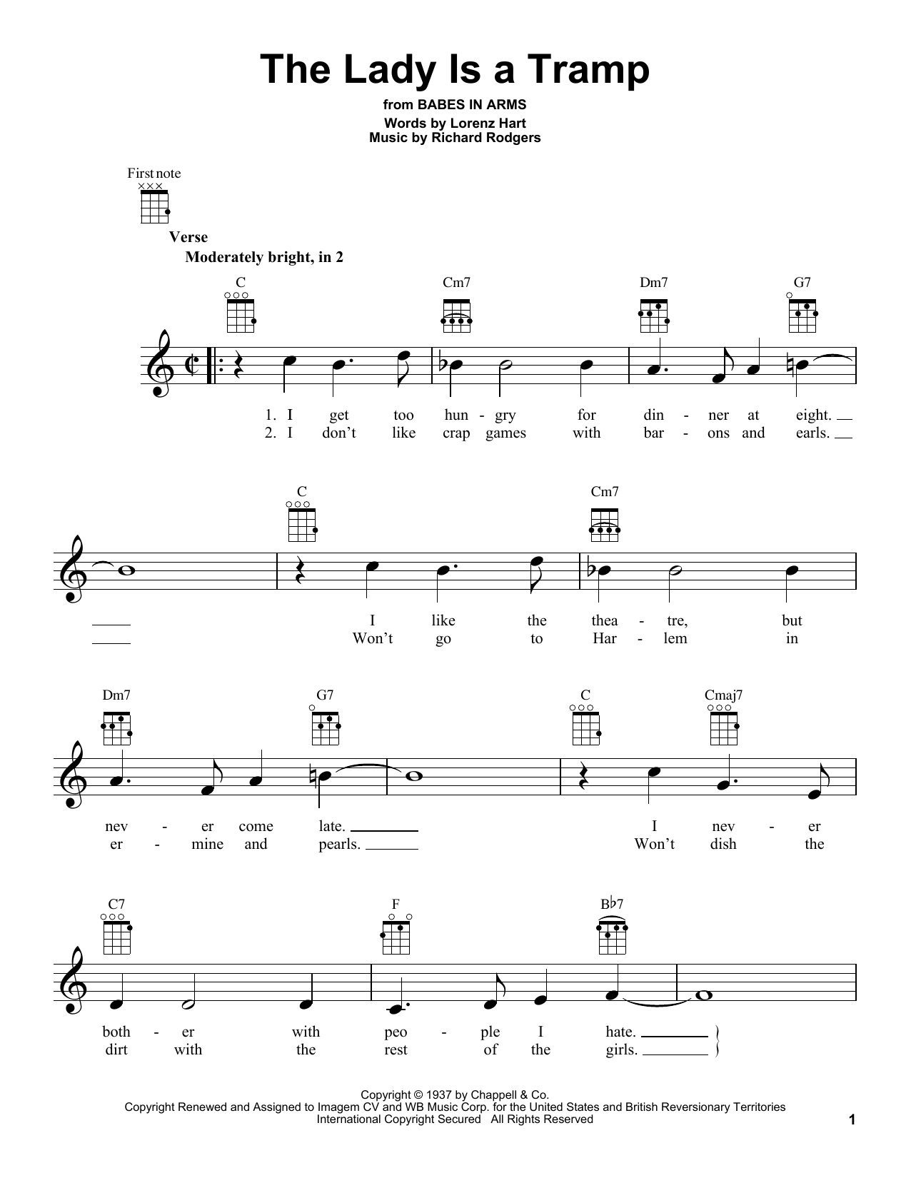 Tablature guitare The Lady Is A Tramp de Rodgers & Hart - Ukulele