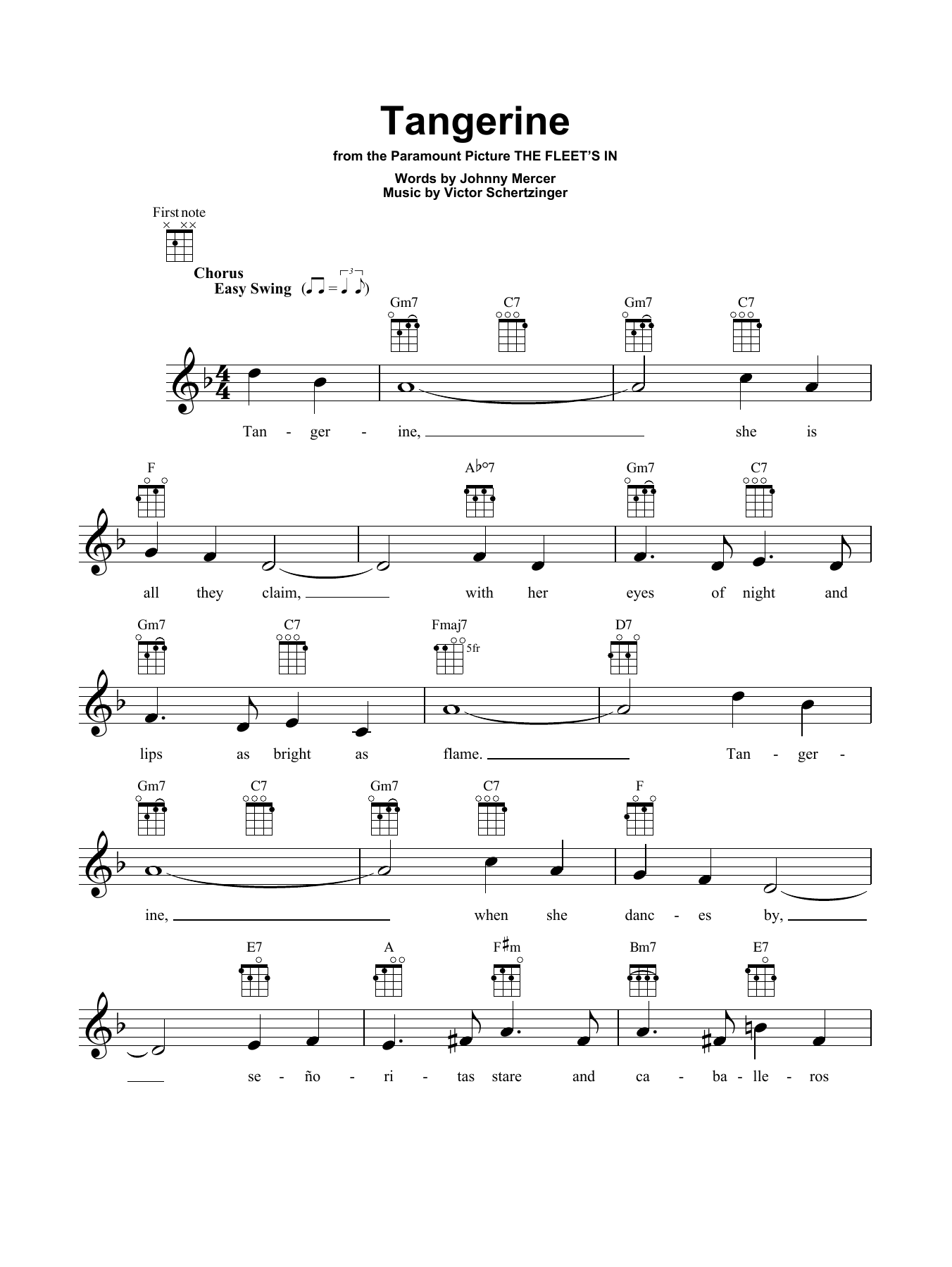 Tablature guitare Tangerine de Jimmy Dorsey - Ukulele