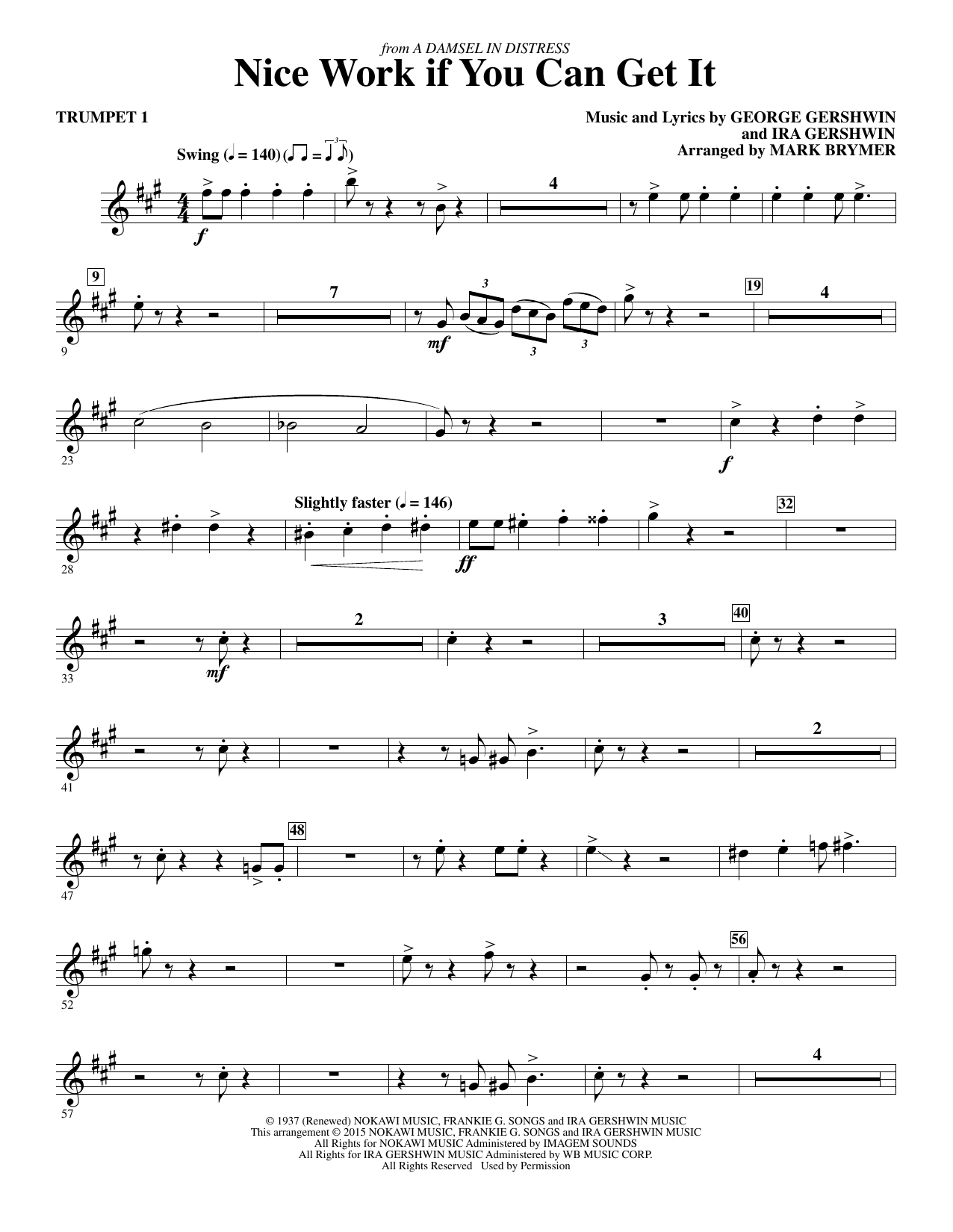 Nice Work If You Can Get It (complete set of parts) sheet music for orchestra/band by Frank Sinatra, George Gershwin, Ira Gershwin and Mark Brymer. Score Image Preview.