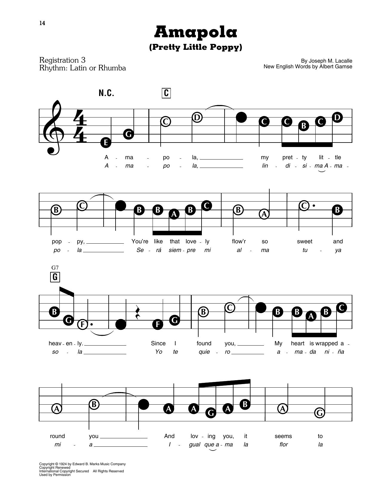 Amapola (Pretty Little Poppy) (E-Z Play Today)