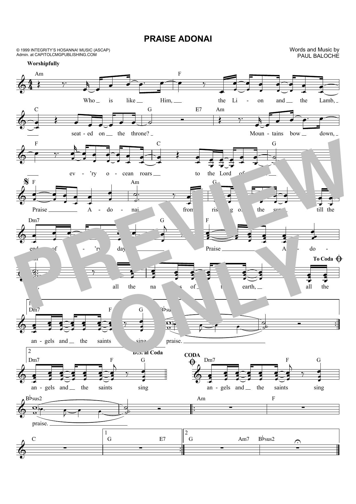 Praise Adonai Chords - Paul Baloche Worship Chords