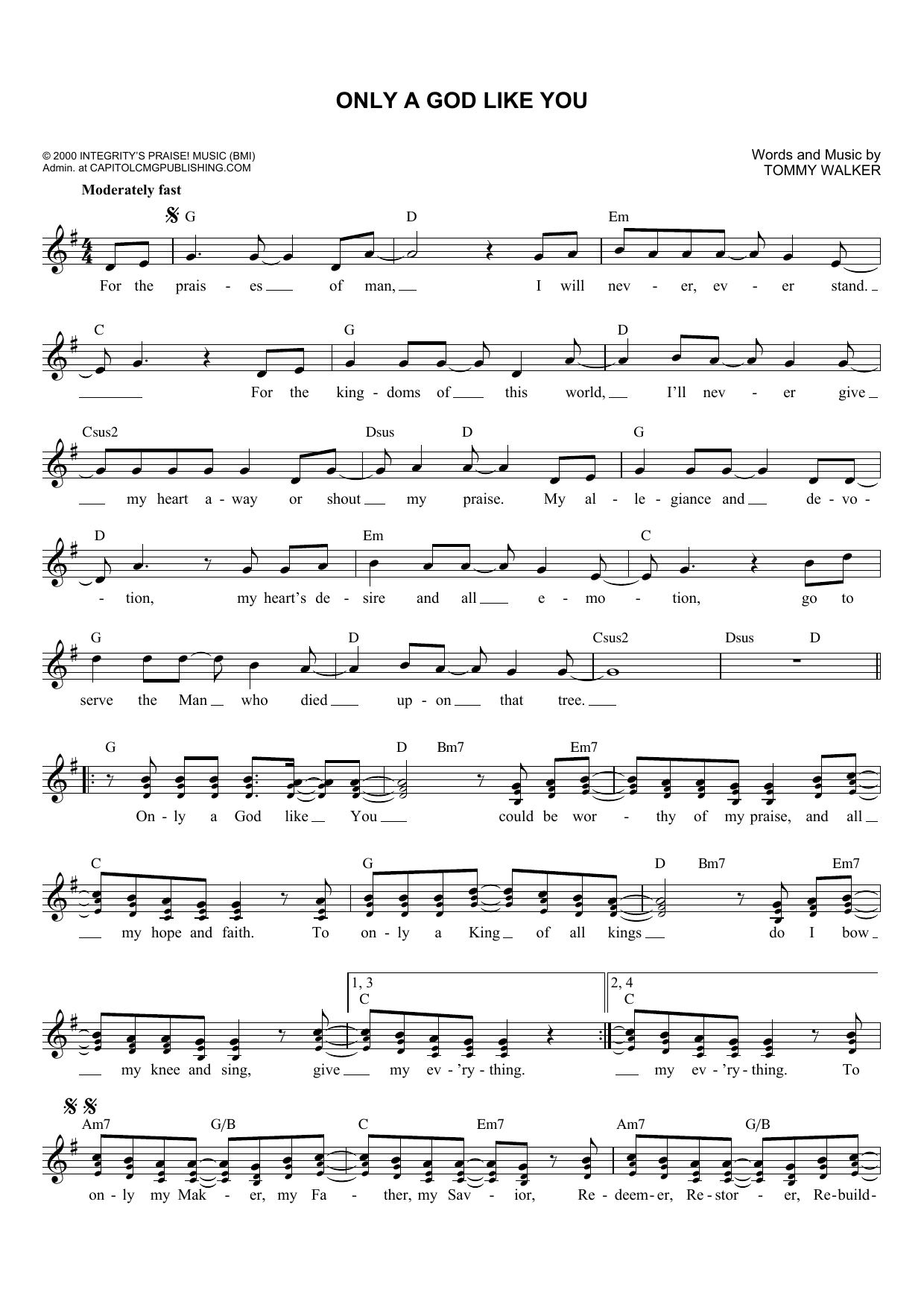 Only A God Like You (Lead Sheet / Fake Book)