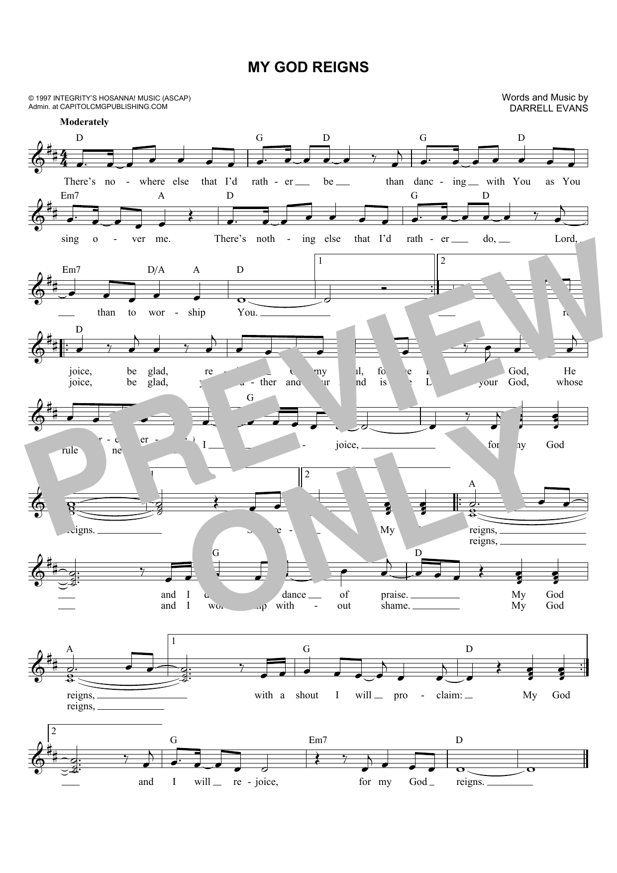 My God Reigns (Lead Sheet / Fake Book)