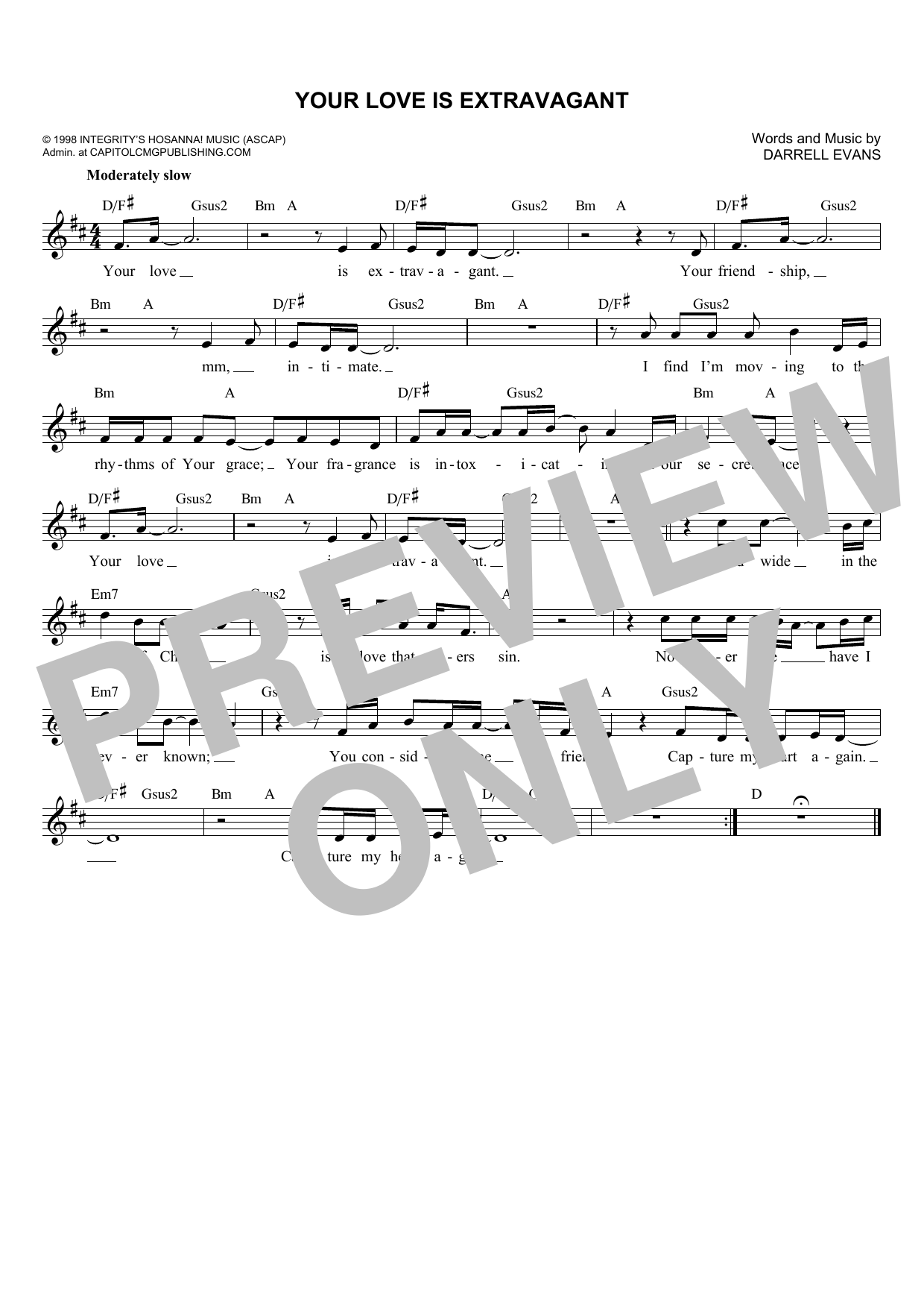 Your Love Is Extravagant (Lead Sheet / Fake Book)