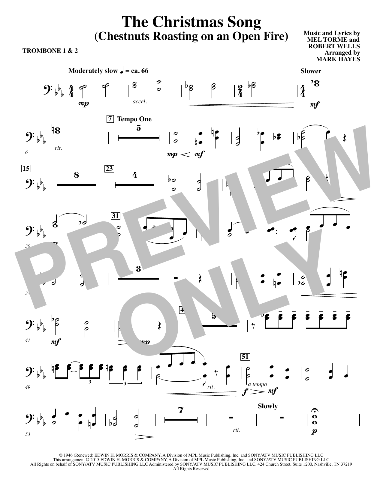 The Christmas Song (Chestnuts Roasting On An Open Fire) - Trombone 1,2 Sheet Music