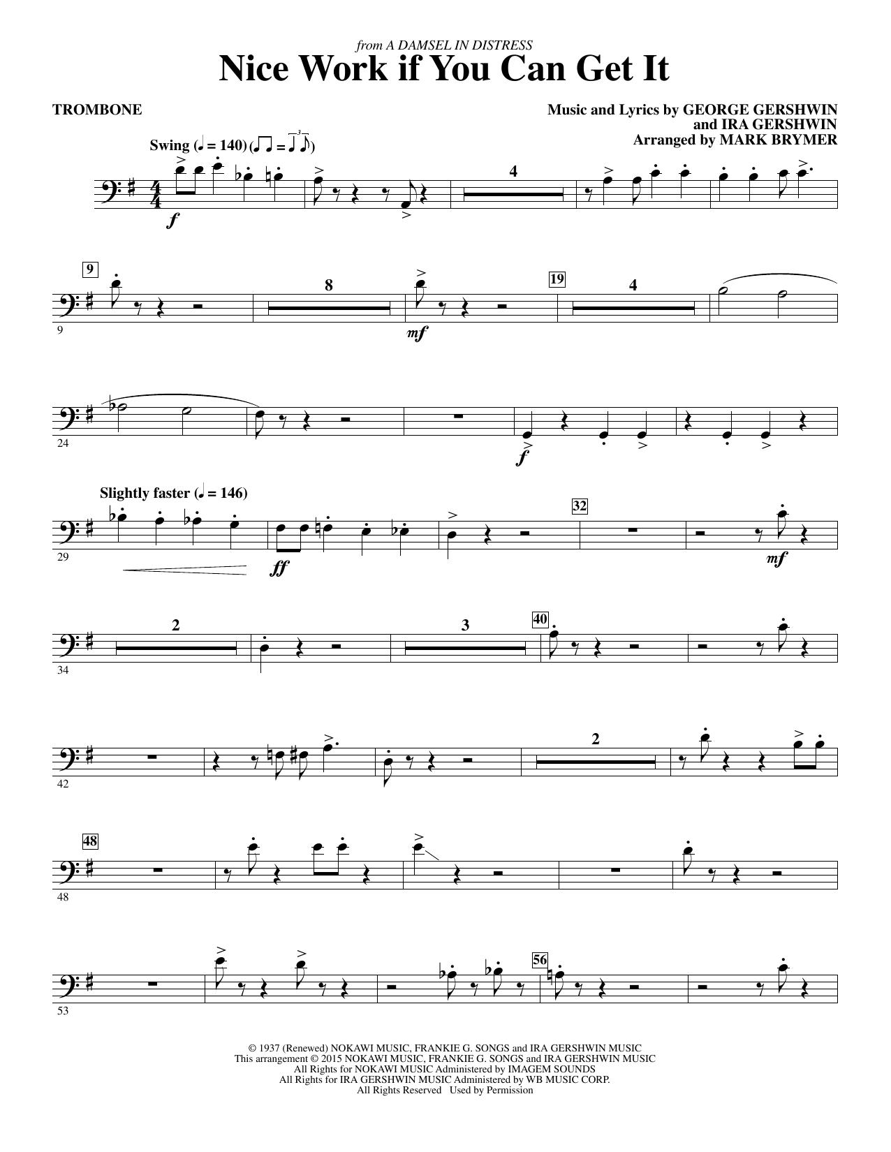 Nice Work If You Can Get It - Trombone (Choir Instrumental Pak)