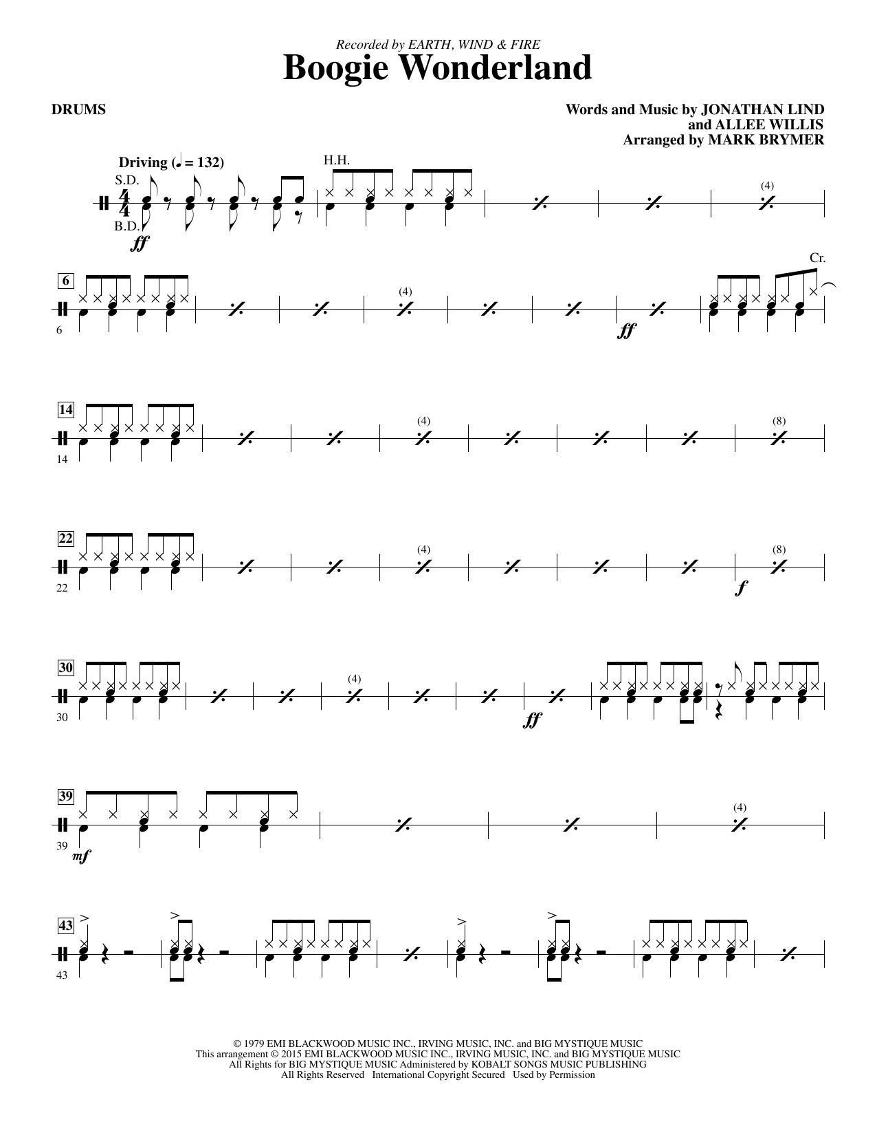 Boogie Wonderland - Drum Set (Choir Instrumental Pak)