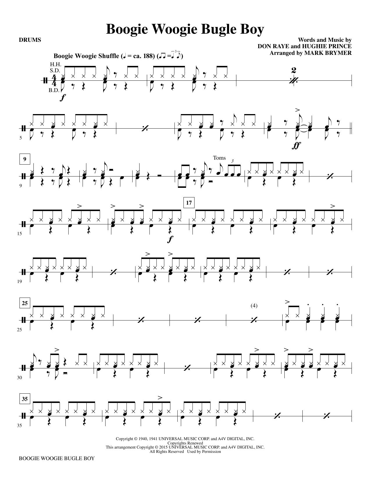 Boogie Woogie Bugle Boy - Drums Sheet Music